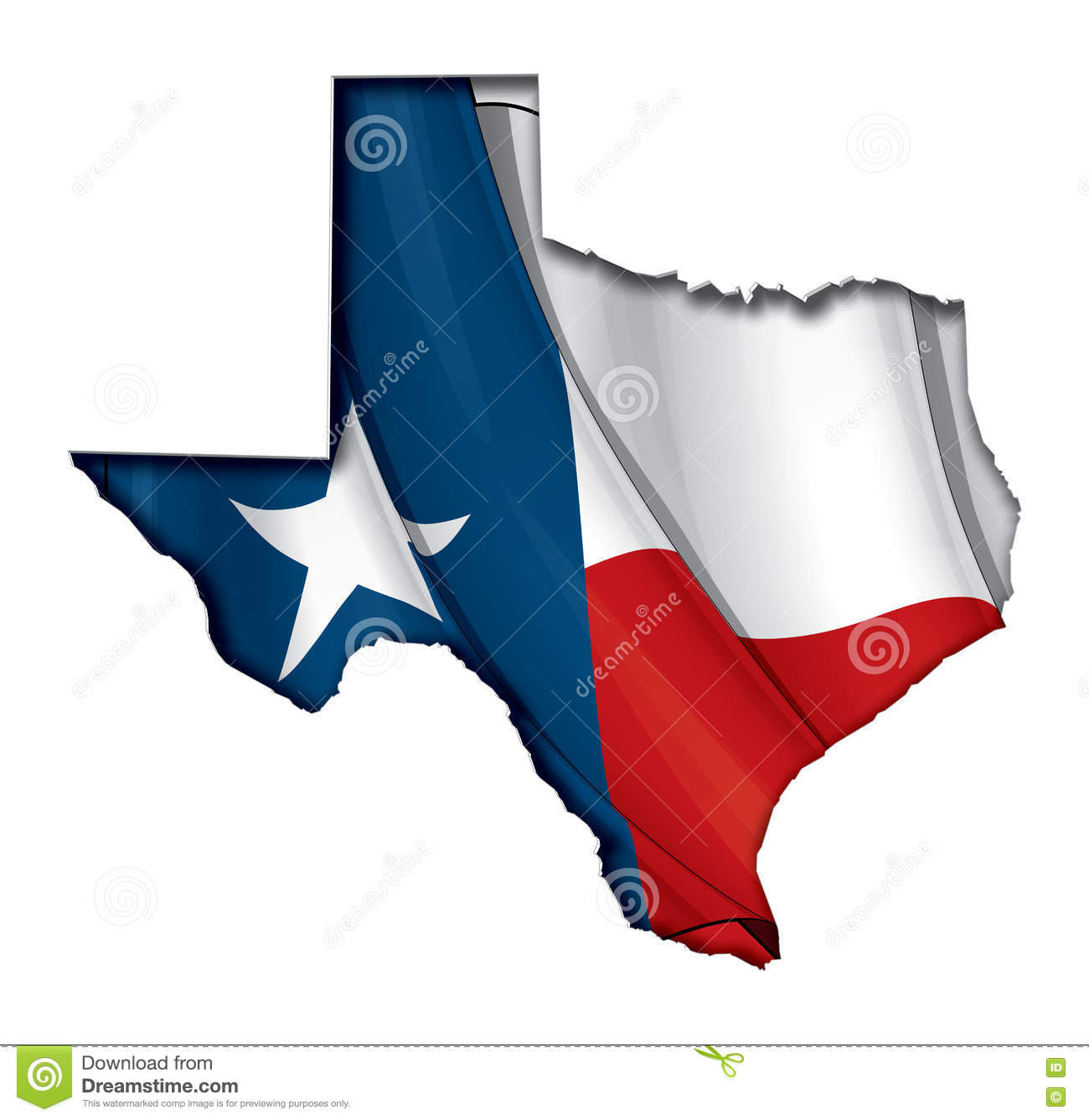Sombra de Texas Cut Out Map Inner con la bandera debajo