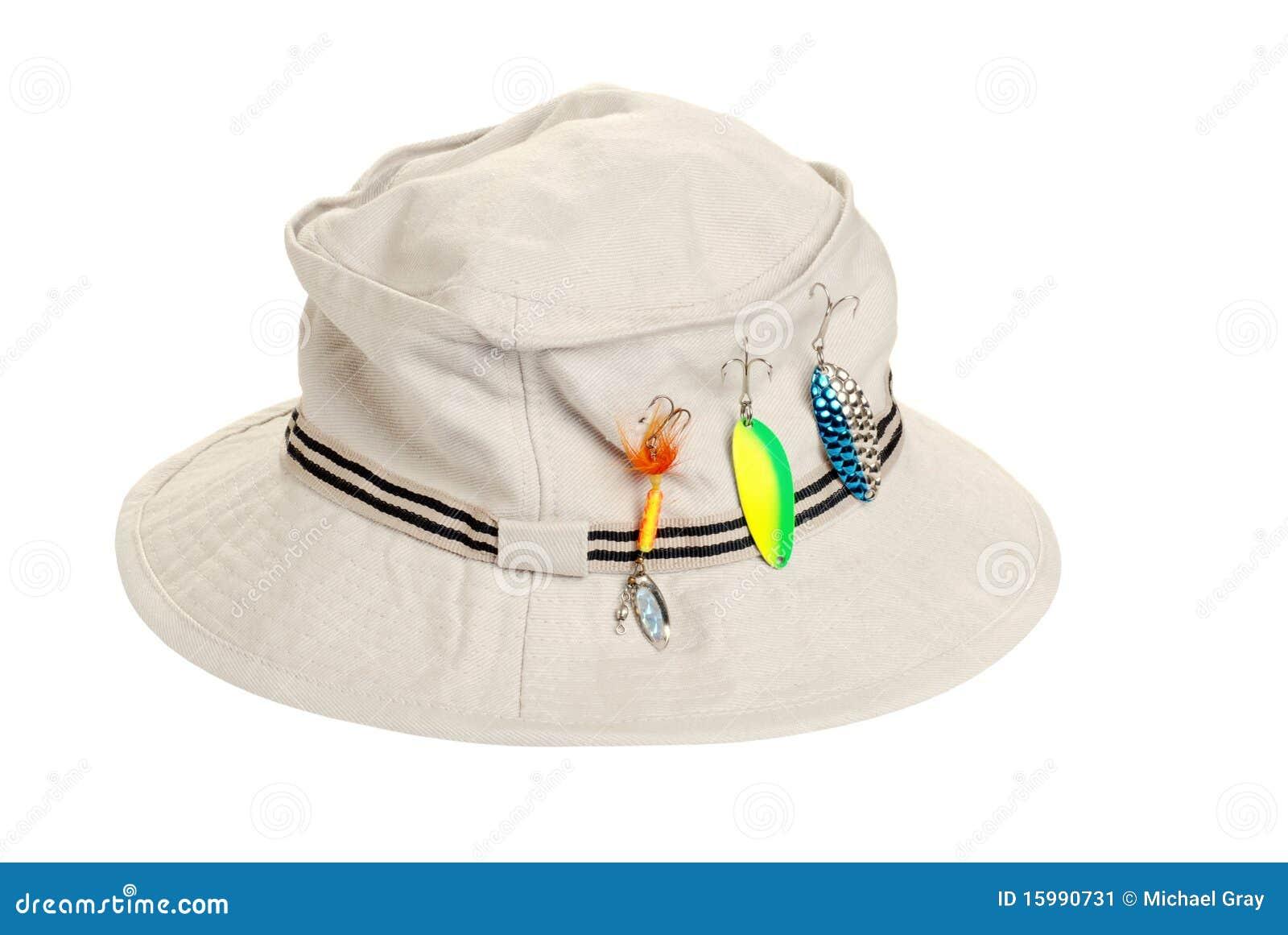 82e602e35f906 Sombrero De Color Caqui Con Los Trastos De Pesca Imagen de archivo ...