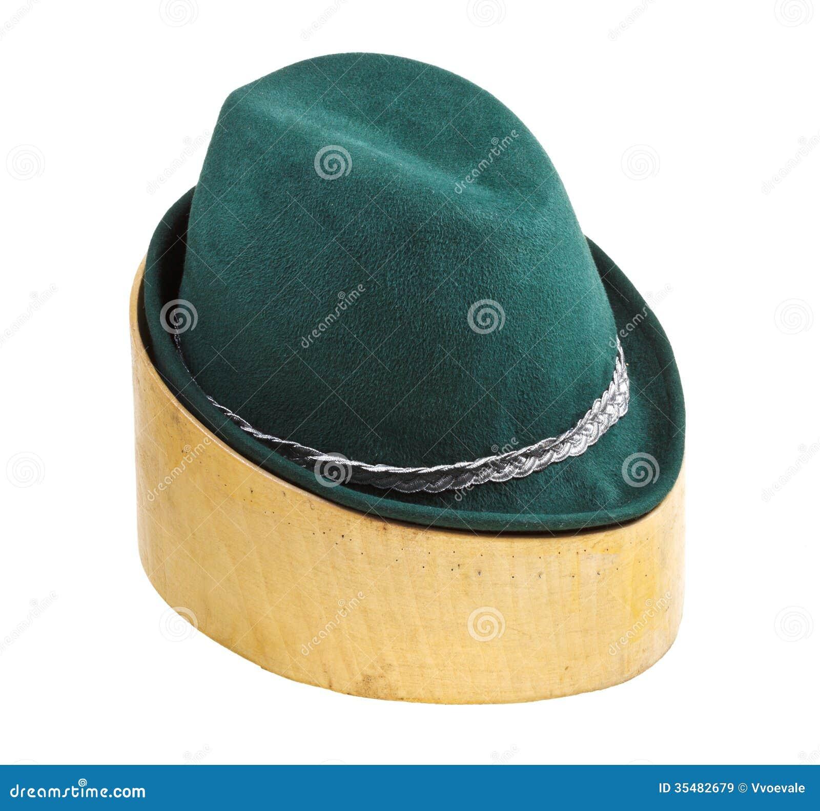 Sombrero De Fieltro Tirolés Verde En Bloque De Madera Del Tilo ... 111c36600c94