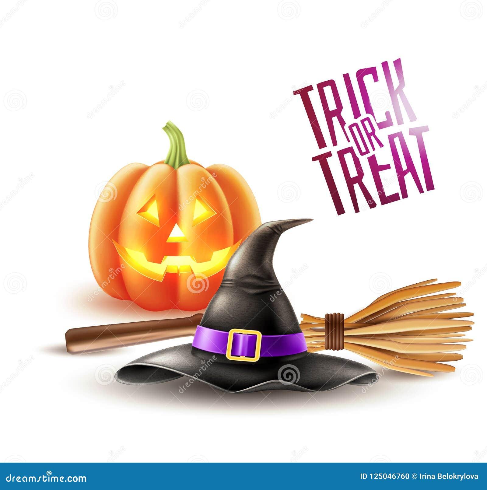 Sombrero de la bruja del cartel del feliz Halloween del vector, escoba