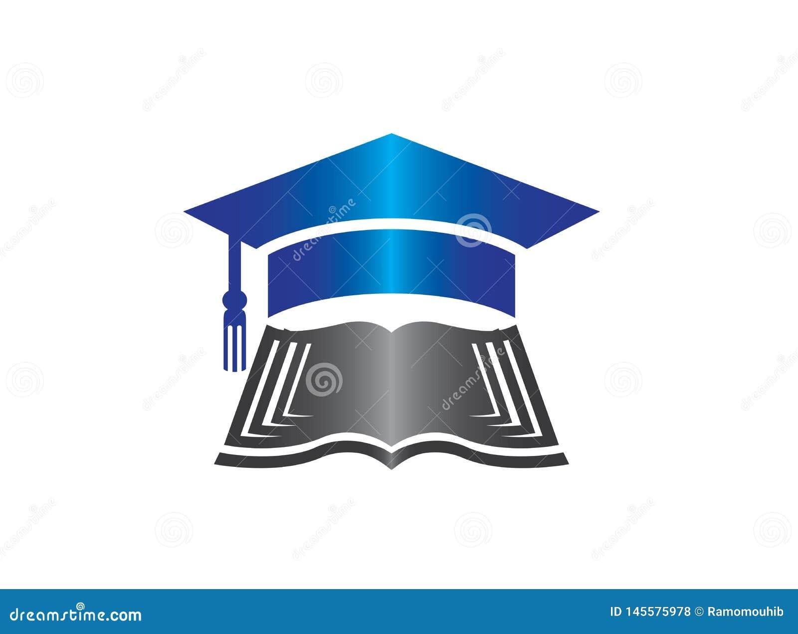 Sombrero de la graduación en el libro de papeles para el ejemplo del diseño del logotipo
