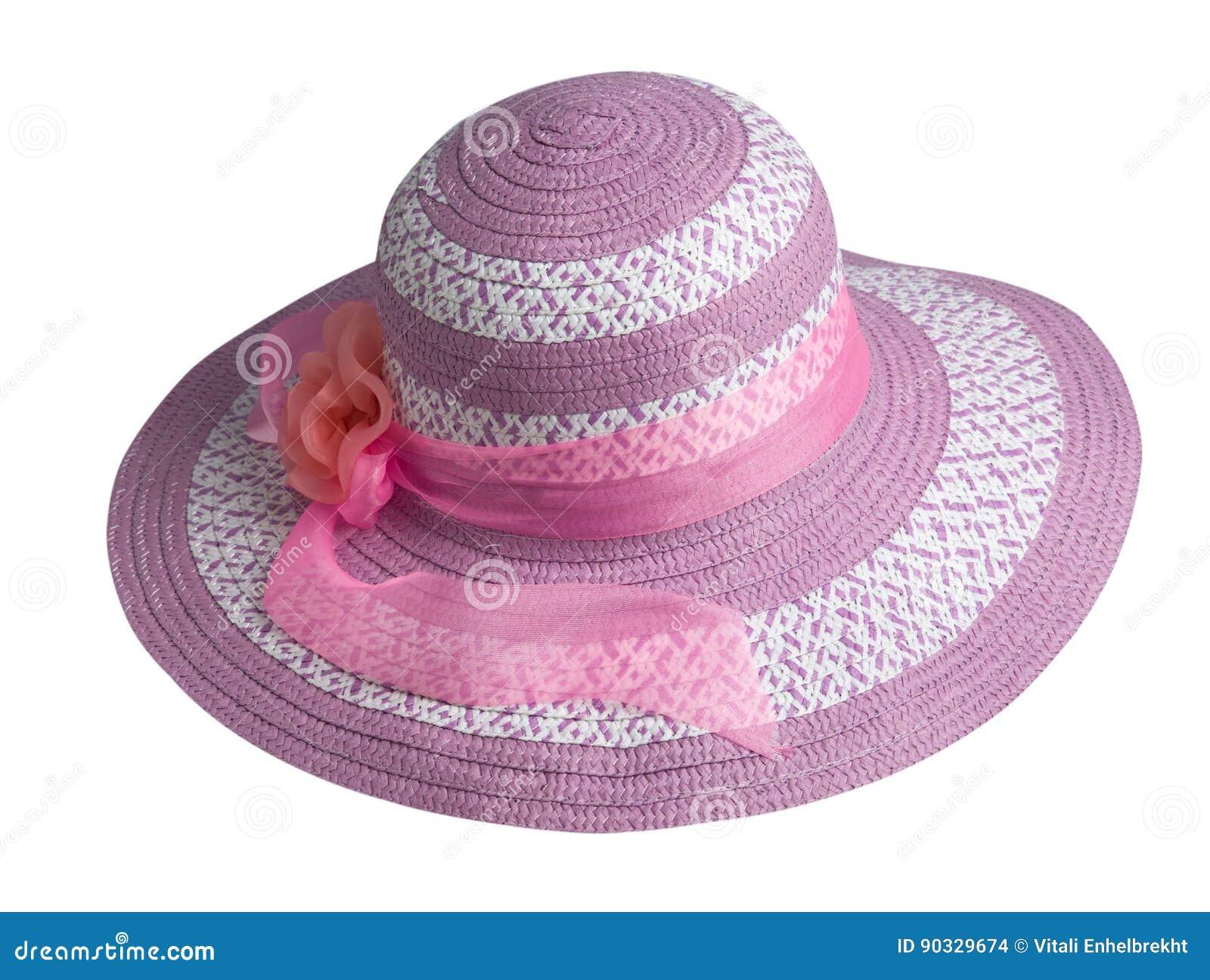 Sombrero de la mujer aislado en el fondo blanco Sombrero de la playa del `  s de las mujeres Sombrero rosado 22cbc252156