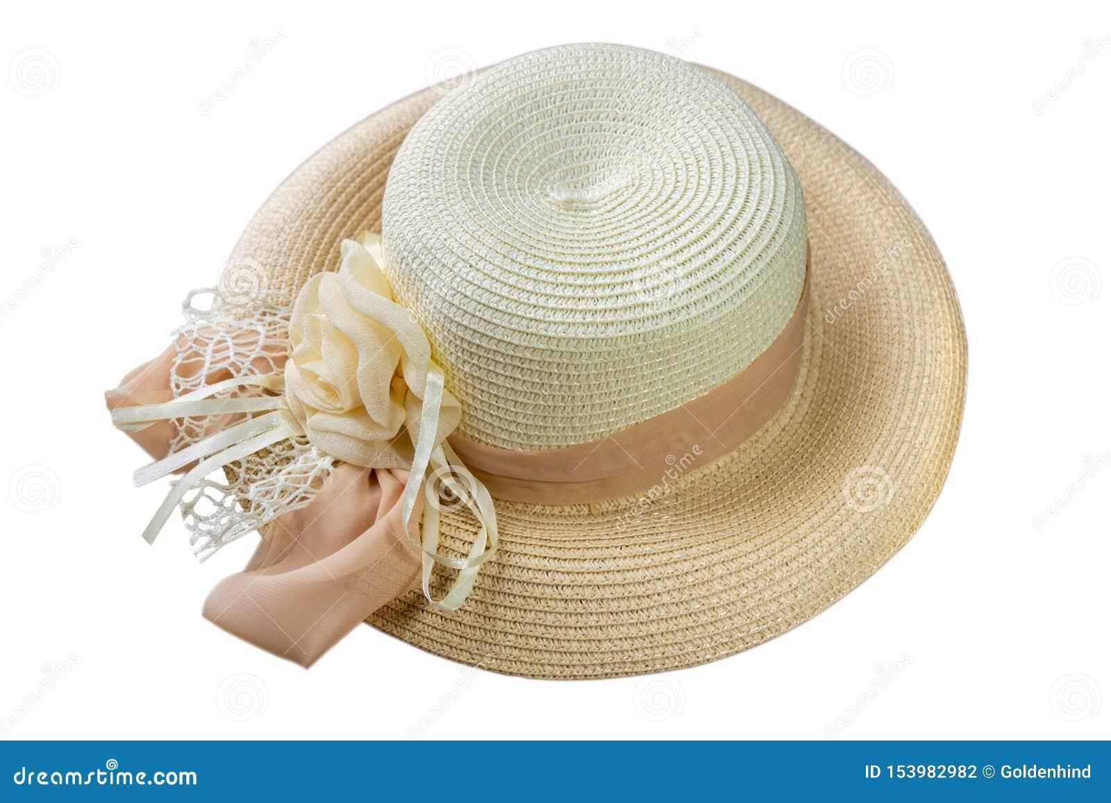 Sombrero de paja bonito con la cinta y flor aislada en la opinión blanca del sombrero de la playa del fondo de un lado