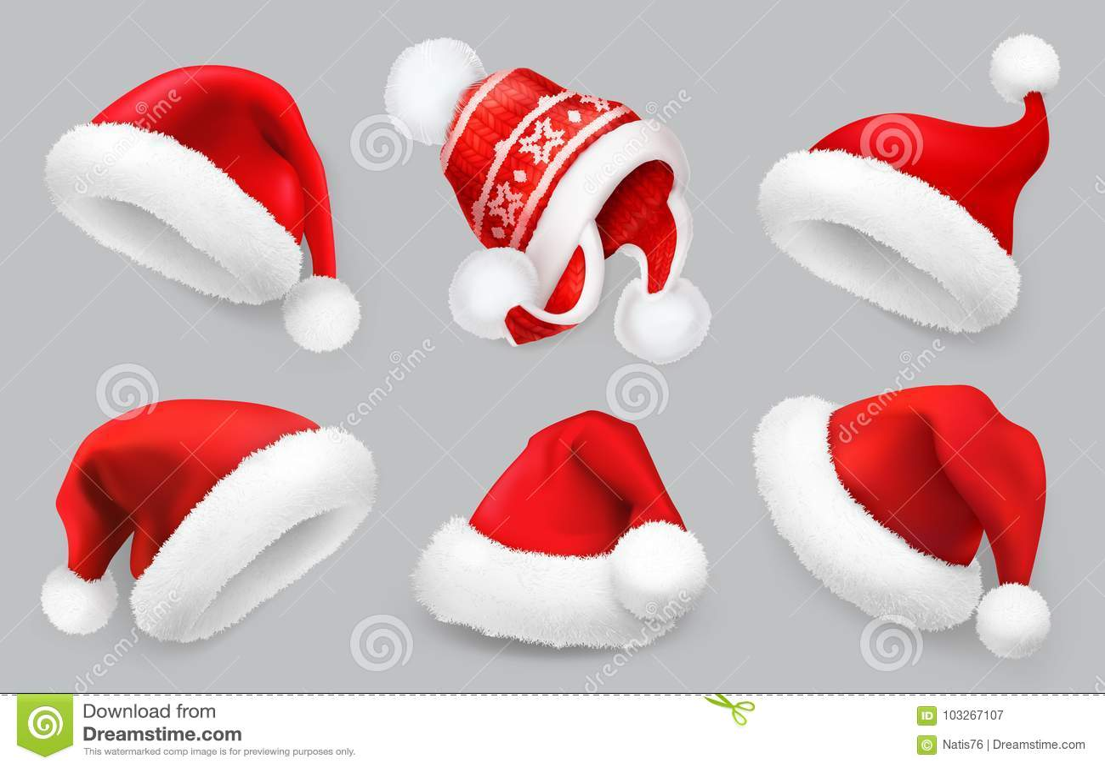 Sombrero de Santa Claus Ropa del invierno Sistema del icono del vector de la Navidad 3d