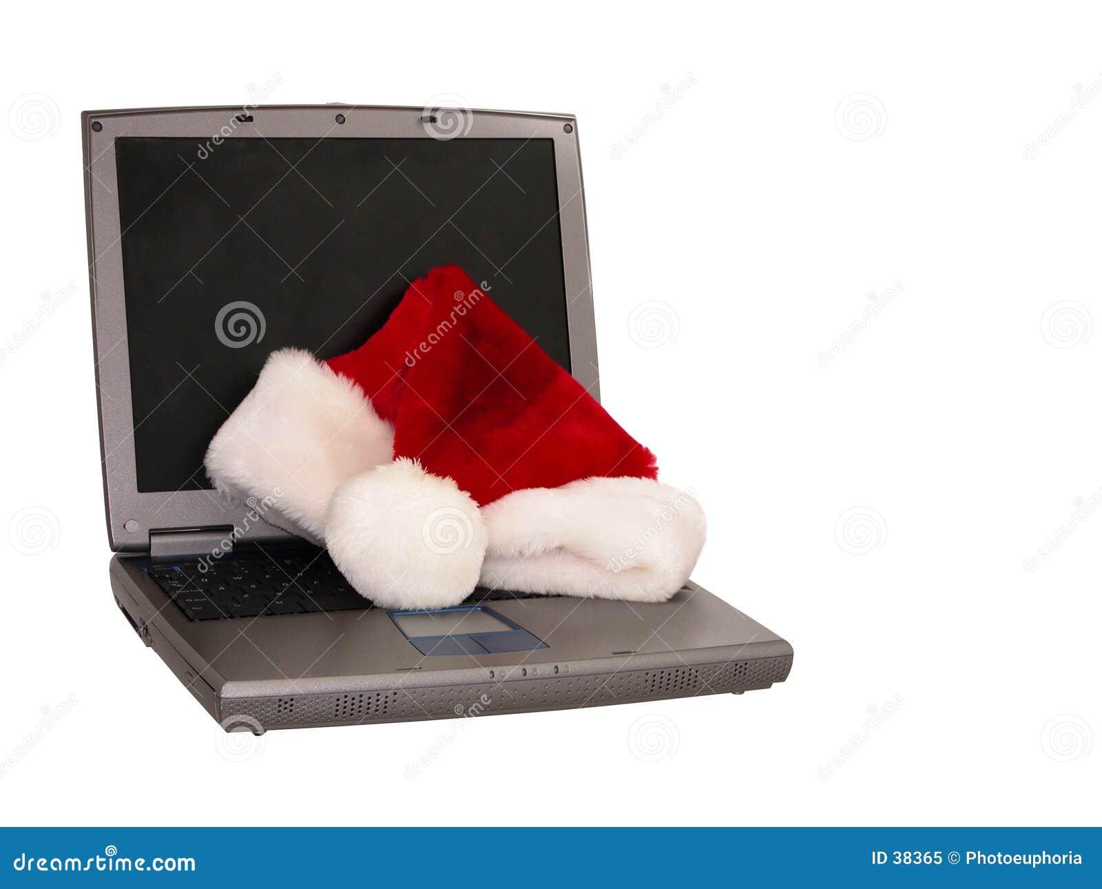 Download Sombrero De Santa Que Se Sienta En Una Computadora Portátil (3 De 3) Imagen de archivo - Imagen de navidad, blanco: 38365