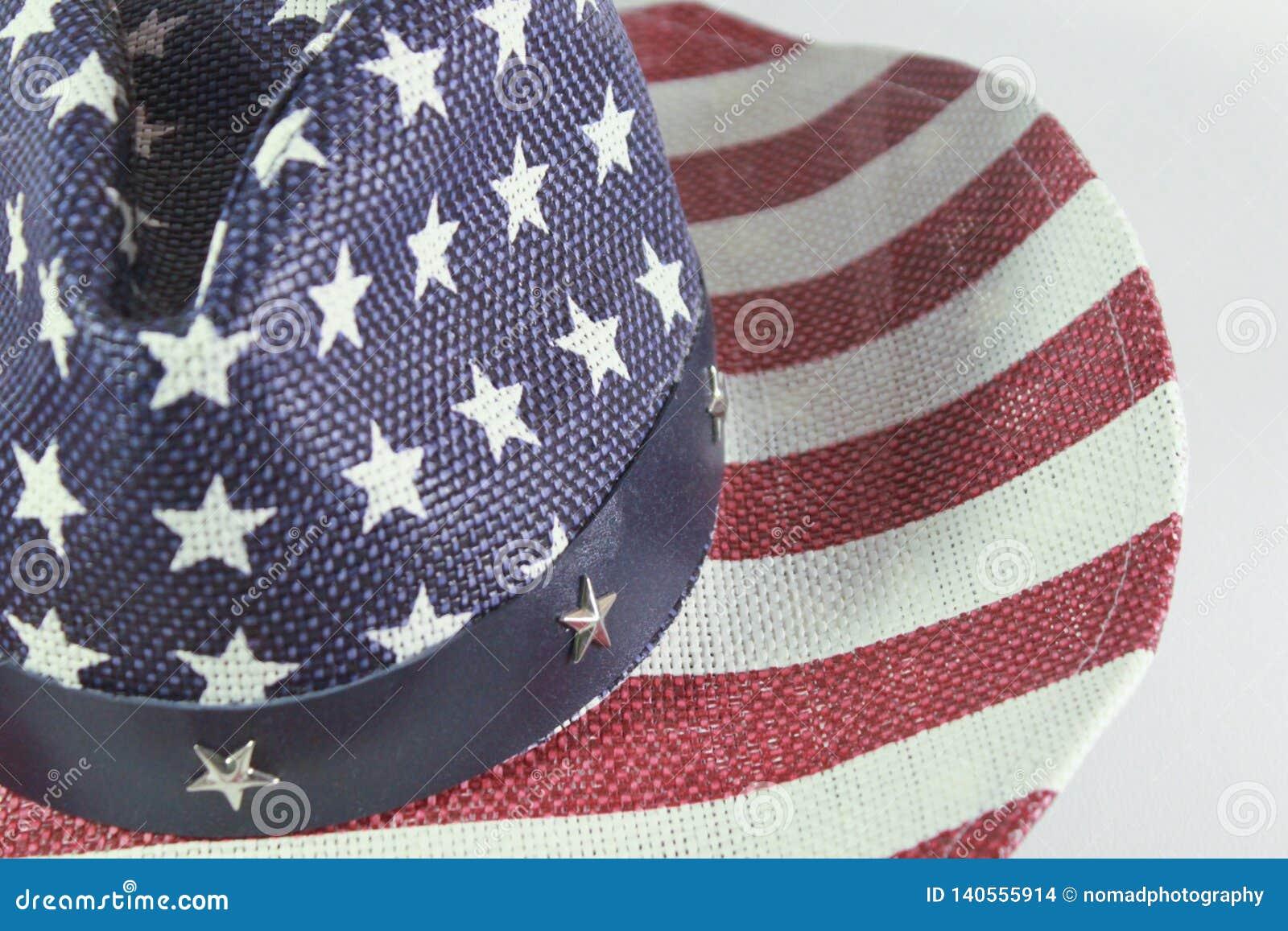 Sombrero de vaquero americano con la bandera
