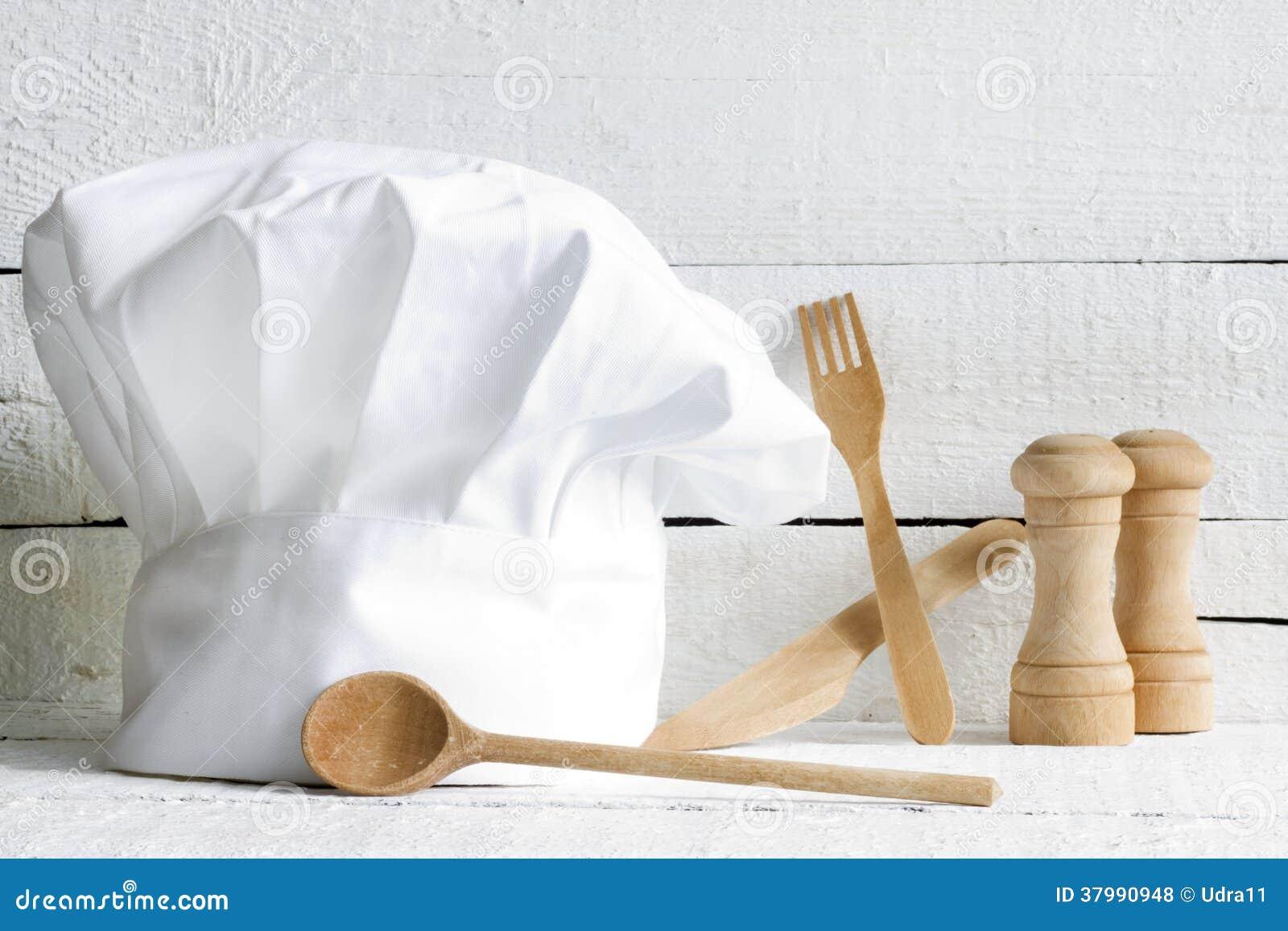 Sombrero del cocinero y extracto de madera de la comida del artículos de cocina
