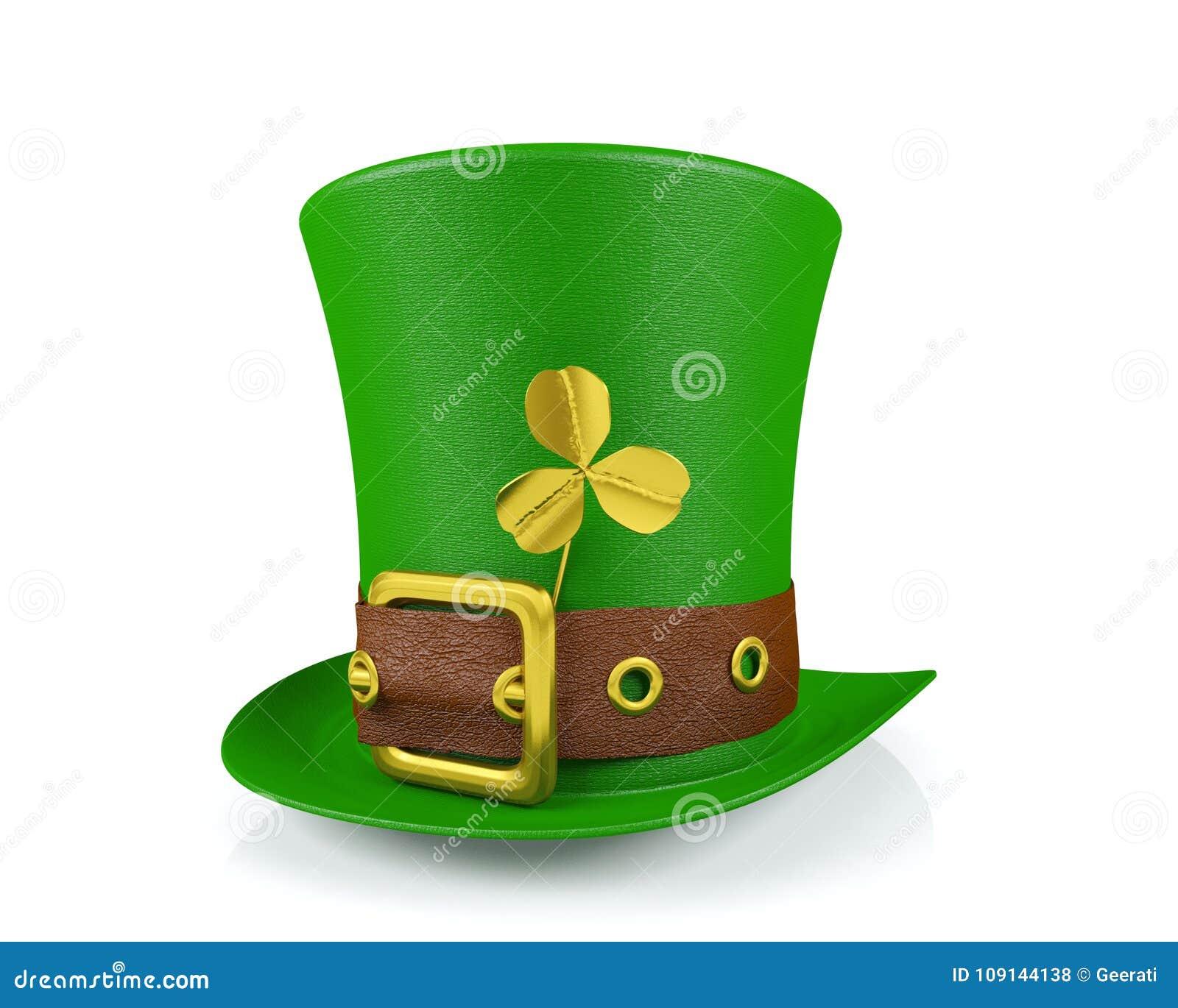 Sombrero del duende del día del ` s de St Patrick con el trébol aislado 086f4a98b0d