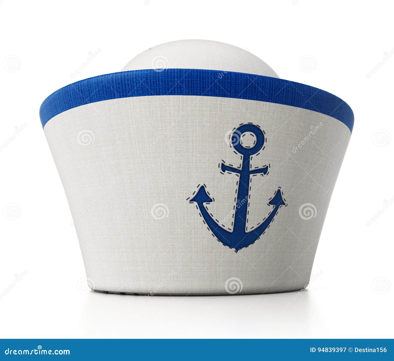 c47489da144ce Sombrero del marinero con el icono del ancla aislado en el fondo blanco