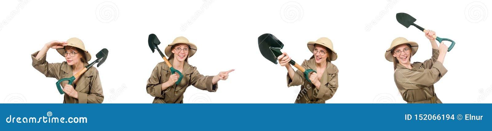 Sombrero del safari de la mujer que lleva en blanco