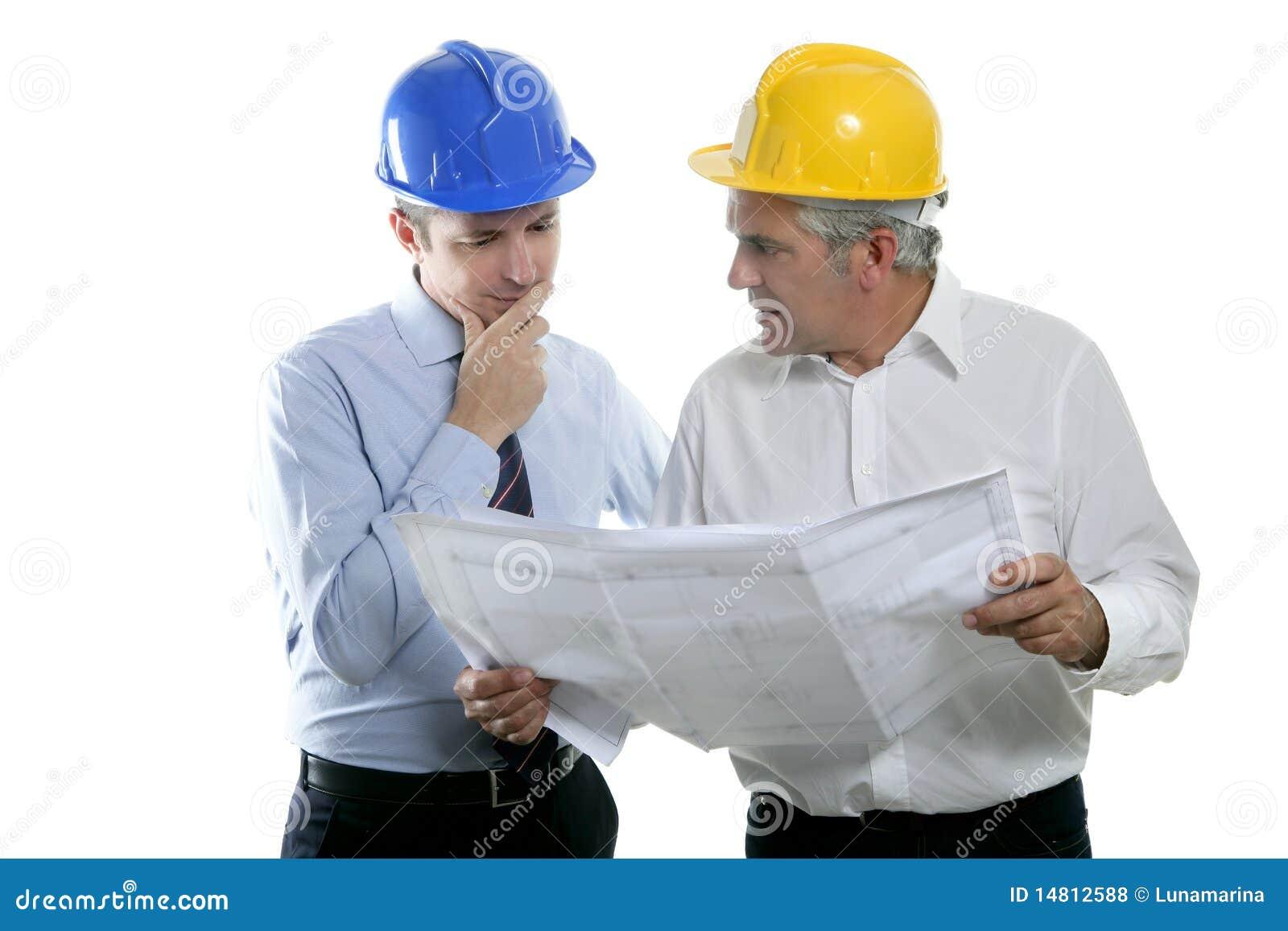 Sombrero duro del plan de las personas de la maestría del arquitecto dos del ingeniero