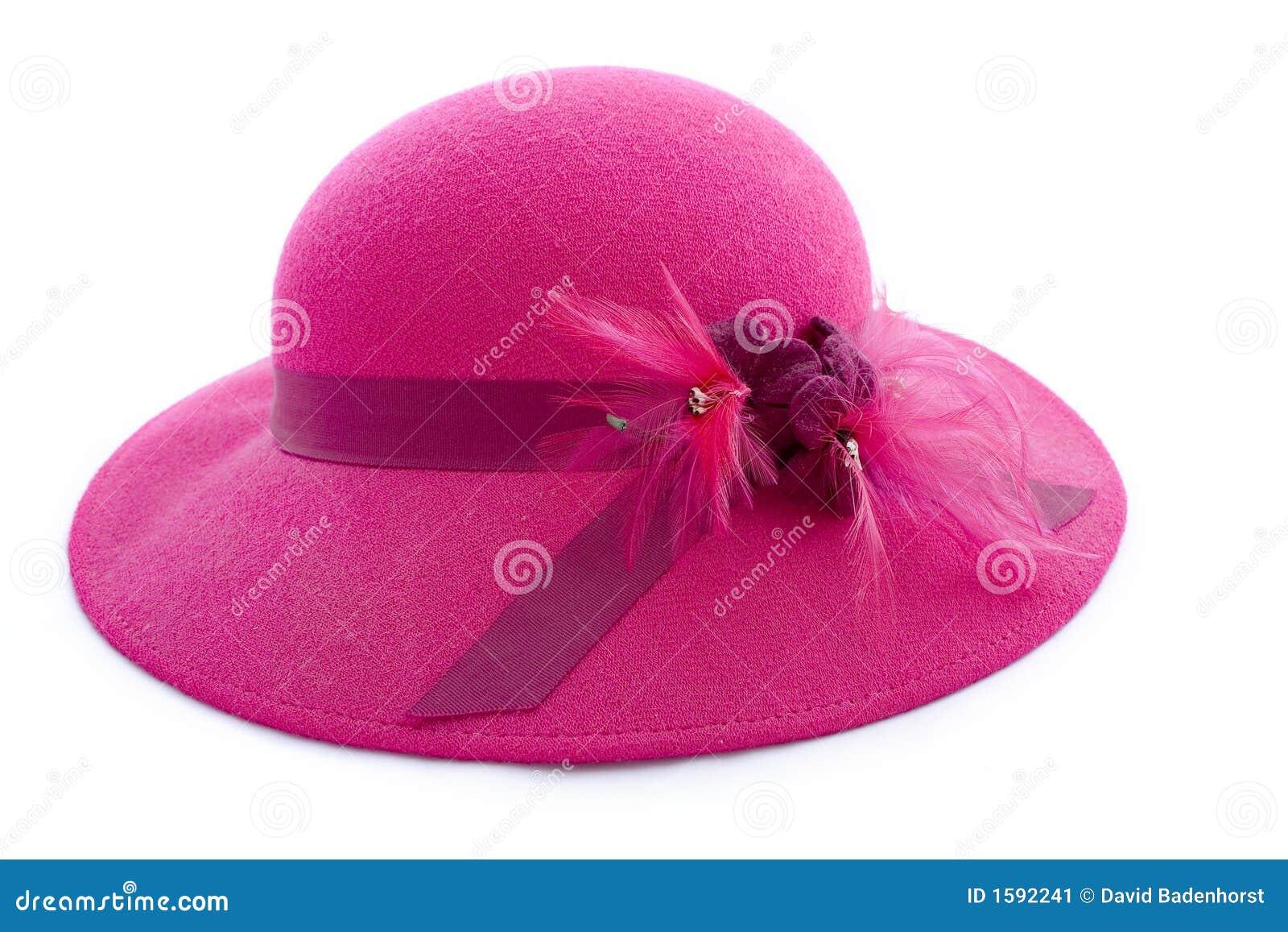Sombrero Emplumado Color De Rosa De La Vendimia Imagen De Archivo Imagen De Vendimia Elegante