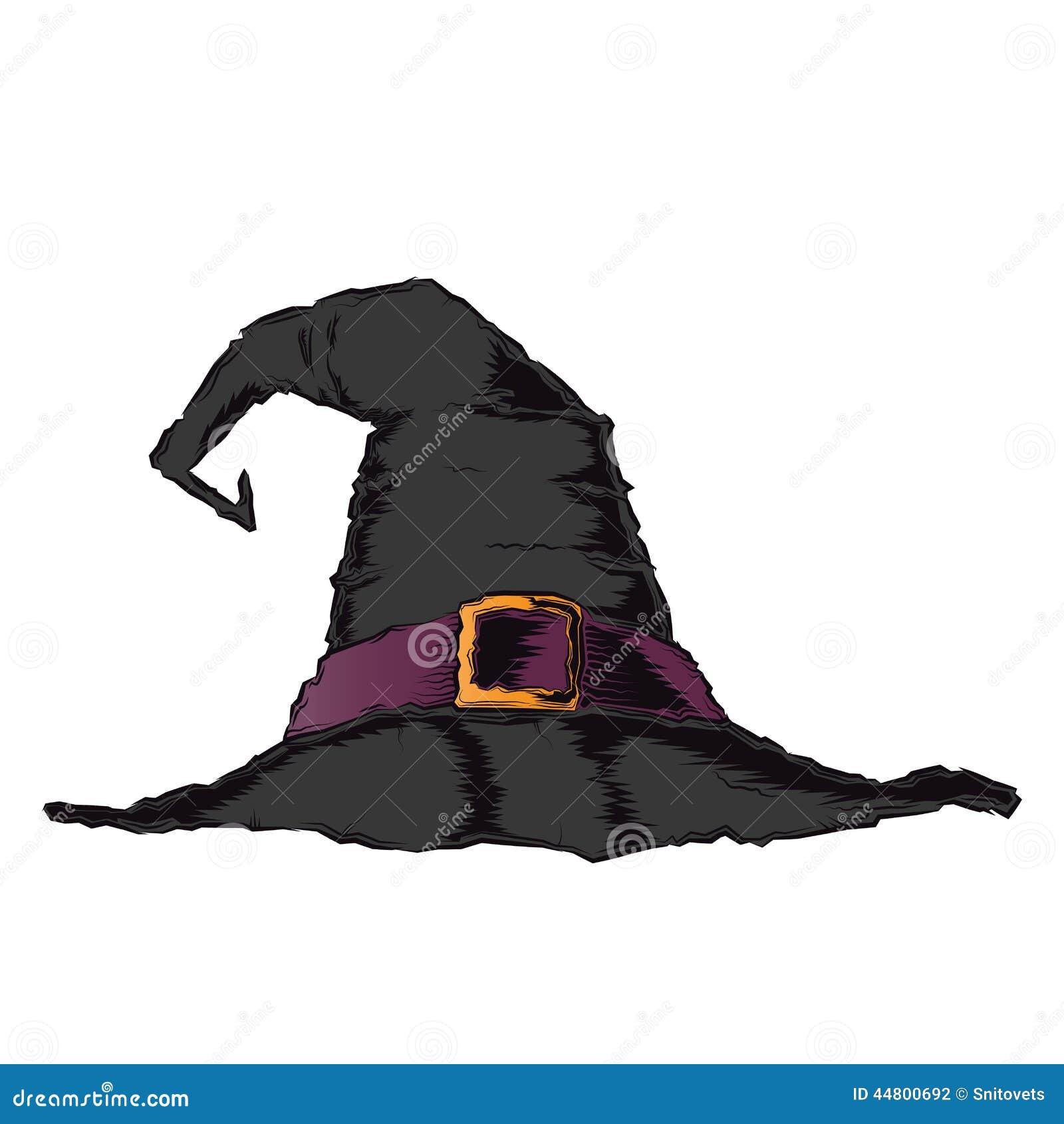 Sombrero Espeluznante Negro De La Bruja Con La Correa Violeta ...