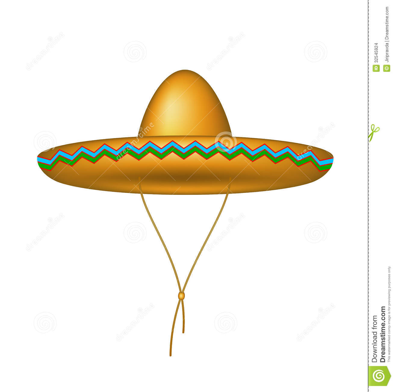 Sombrero hat in brown design on white background.