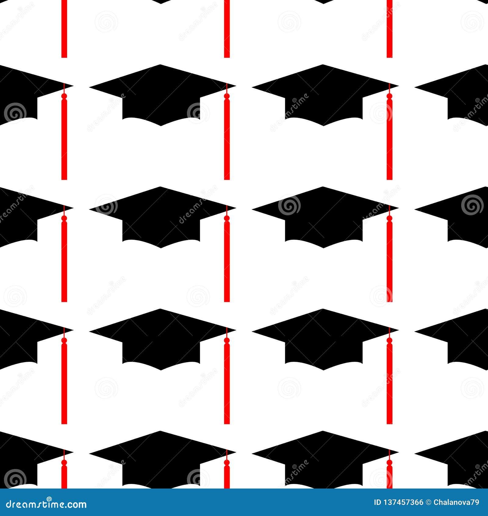 Sombrero Logo Template Design Elements de la graduación Ilustración del vector aislada en el fondo blanco Modelo inconsútil