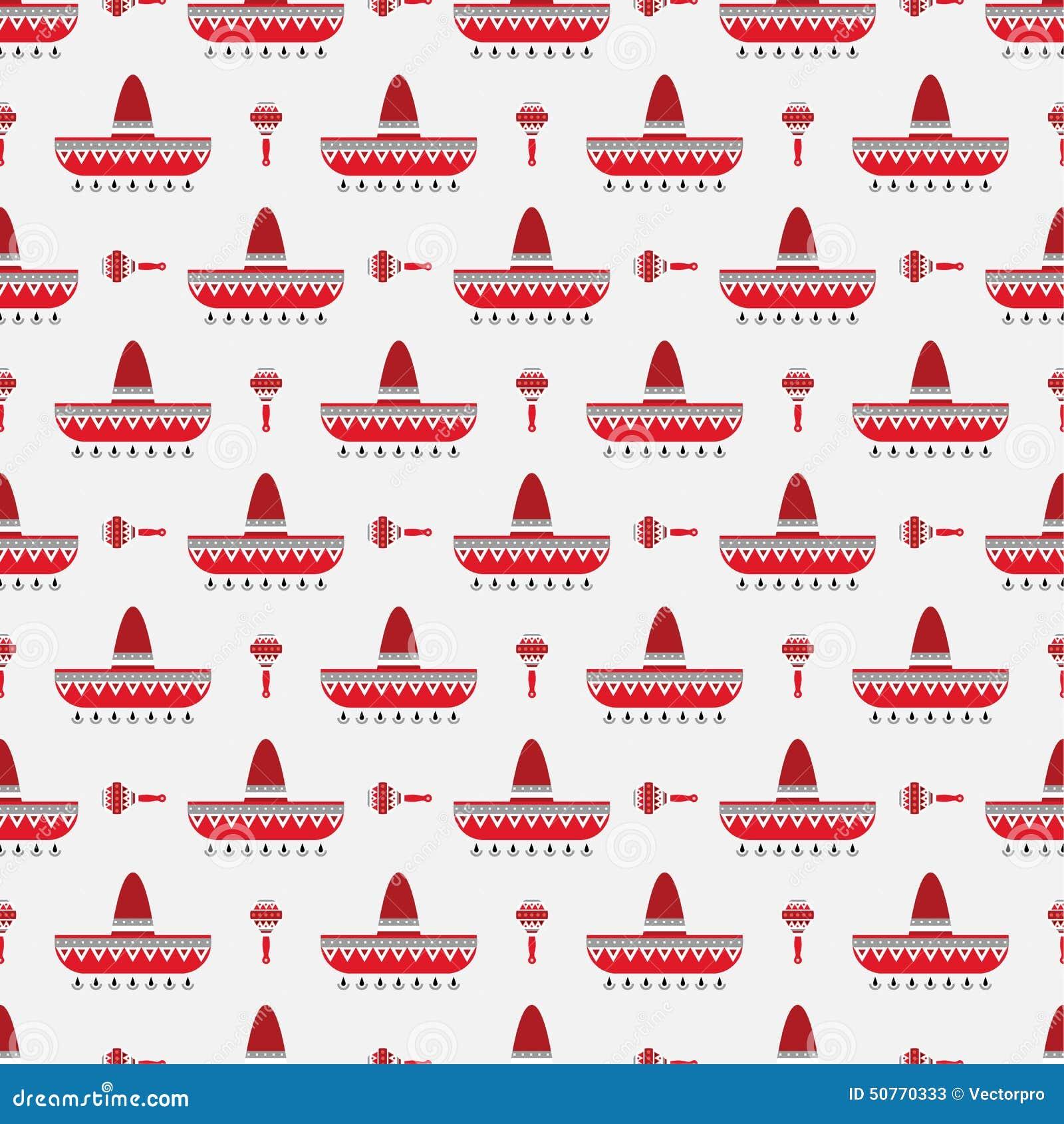 Sombrero And Maracas Pattern Stock Vector - Illustration of outline ... 1b50f203cd7