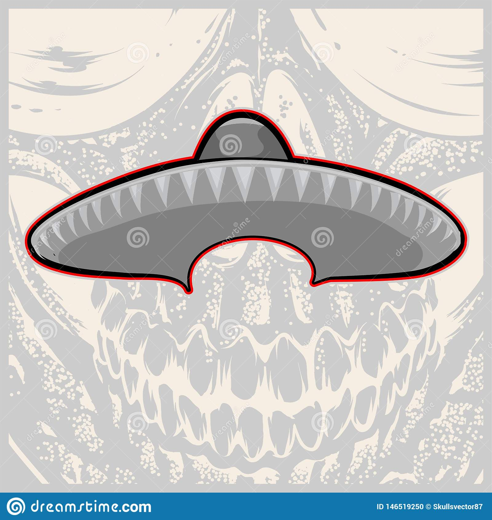 Sombrero - Mexicaanse hoed en snor - vectorillustratie