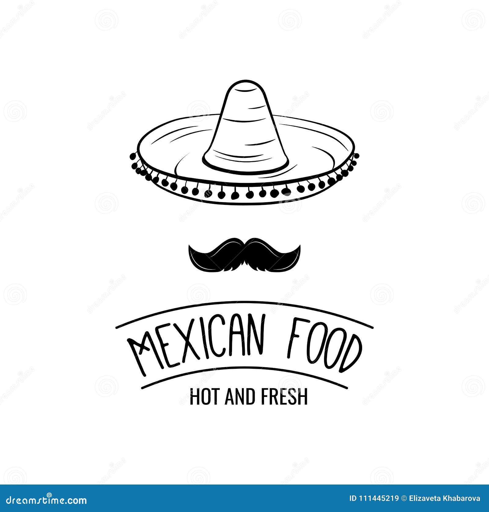 Sombrero och mustasch Mexicansk mat Mexicansk traditionell kokkonst också vektor för coreldrawillustration