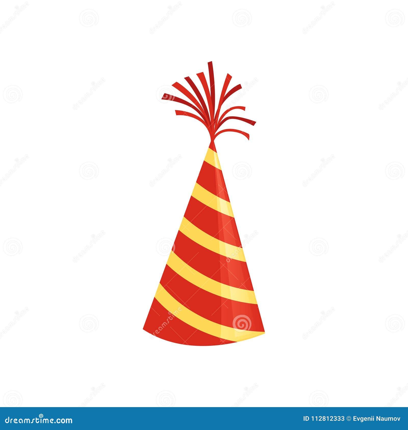 Sombrero rojo del cono con las rayas amarillas Accesorio colorido para la fiesta de cumpleaños Icono brillante del vector en esti