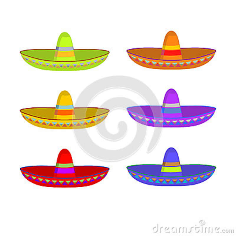 Sombrero set. Colorful Mexican hat ornament. National cap Mexico