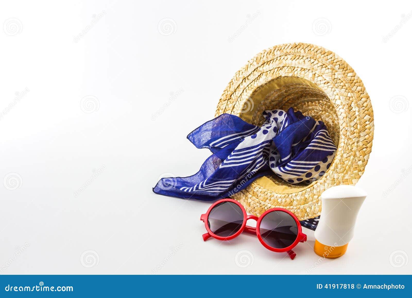 Sombrero tejido, gafas de sol rojas, bufanda con la loción del cuerpo