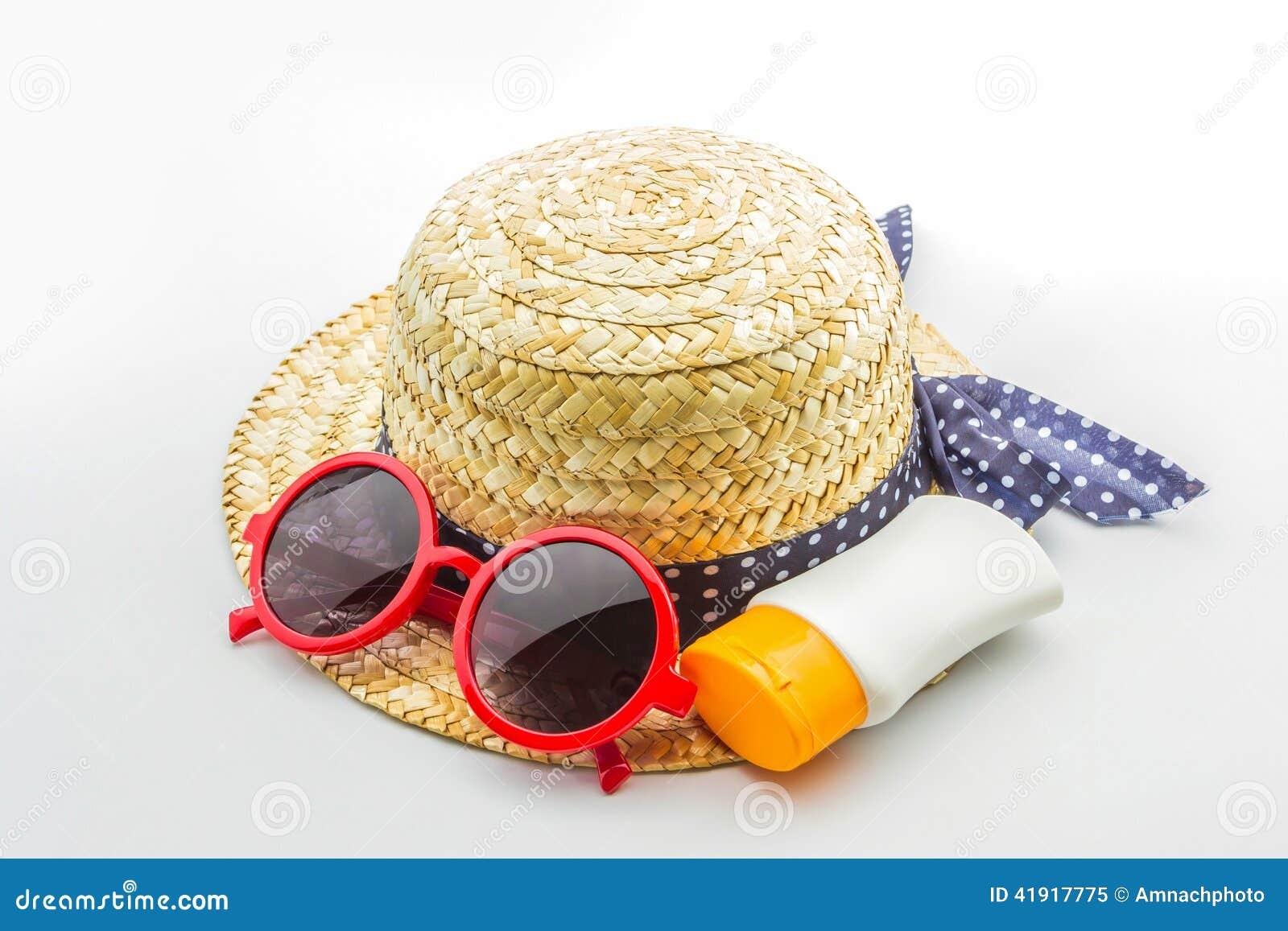 Sombrero tejido, gafas de sol rojas con la loción del cuerpo