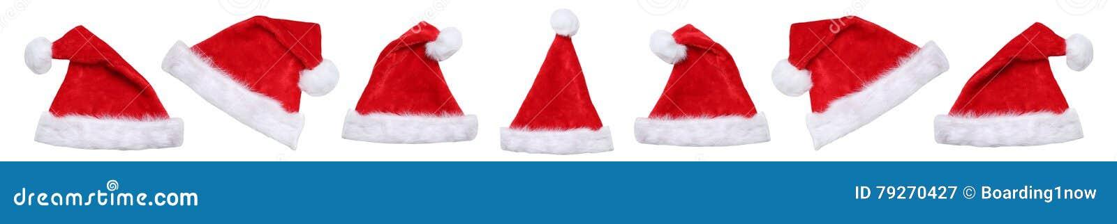 Sombreros del sombrero de Santa Claus el invierno de la Navidad aislados