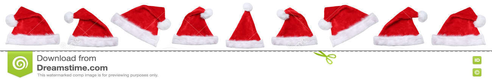 Sombreros del sombrero de Santa Claus el invierno de la Navidad en fila aislados