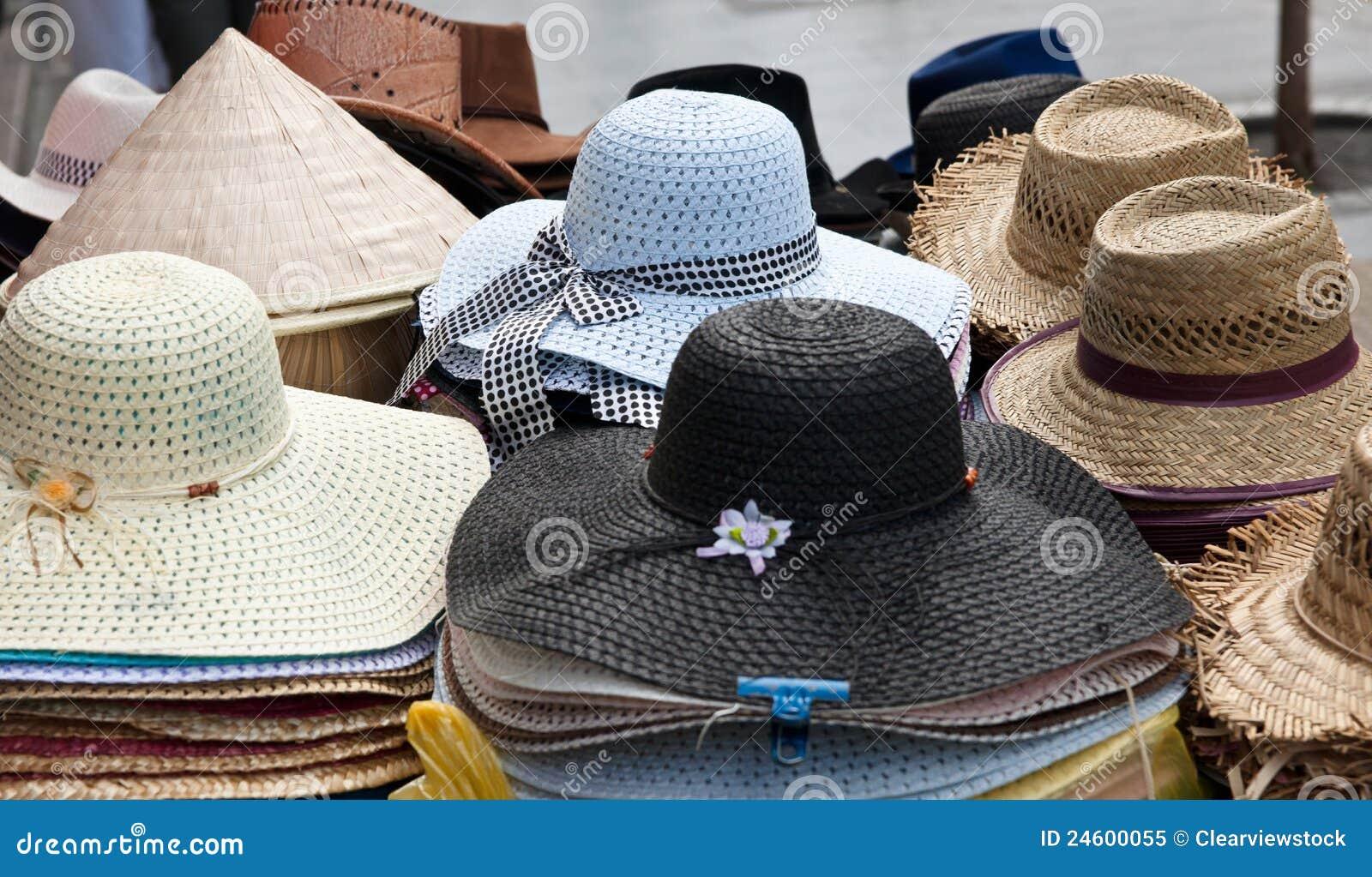 f54dbe8c90 Las porciones de sombreros para la venta en foco de mercado están en el  sombrero azul