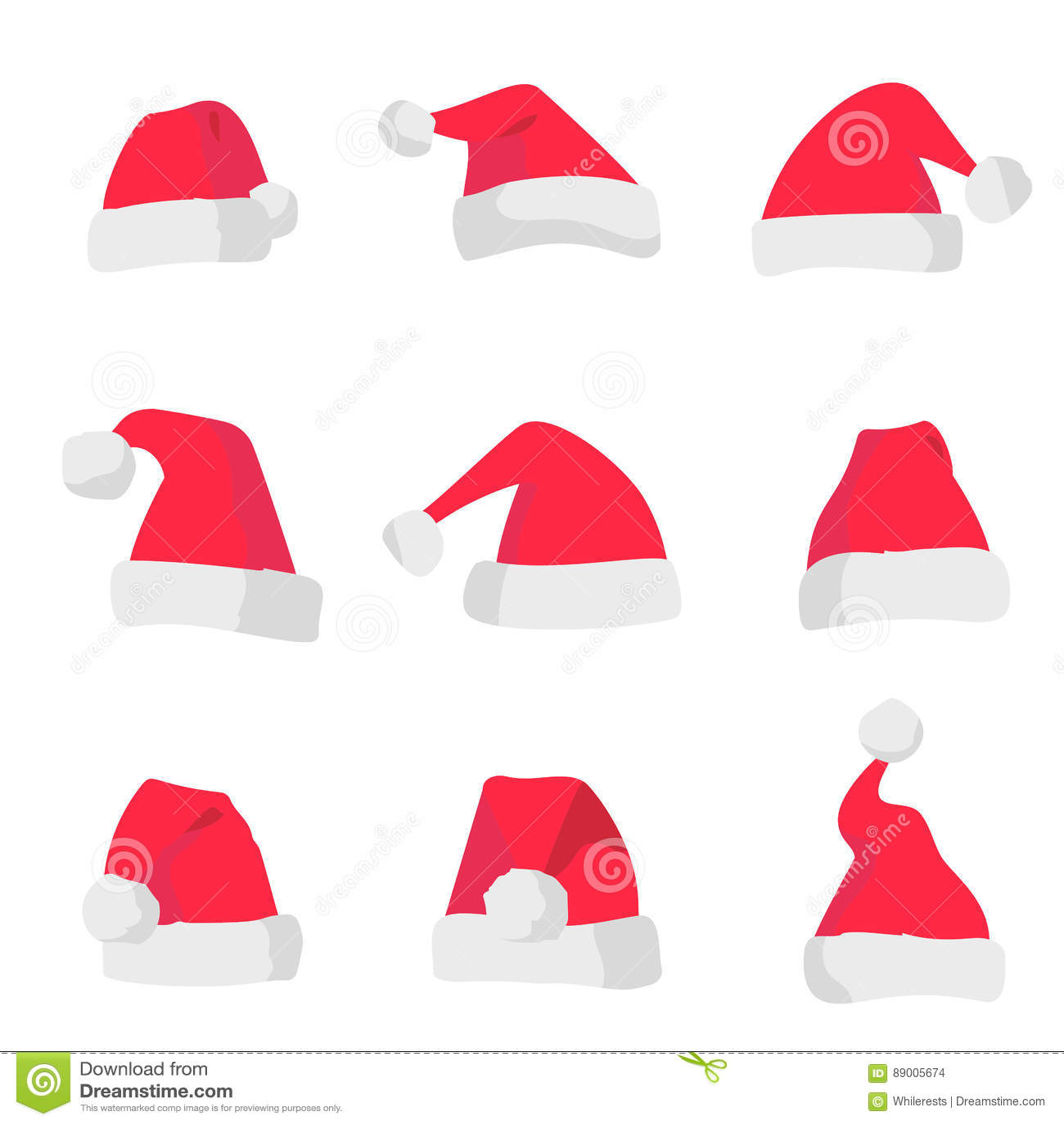 99c03dcf3 Sombreros rojos de Santa Claus aislados en fondo colorido Símbolo del día  de fiesta de la Navidad Sistema del sombrero de santa del vector