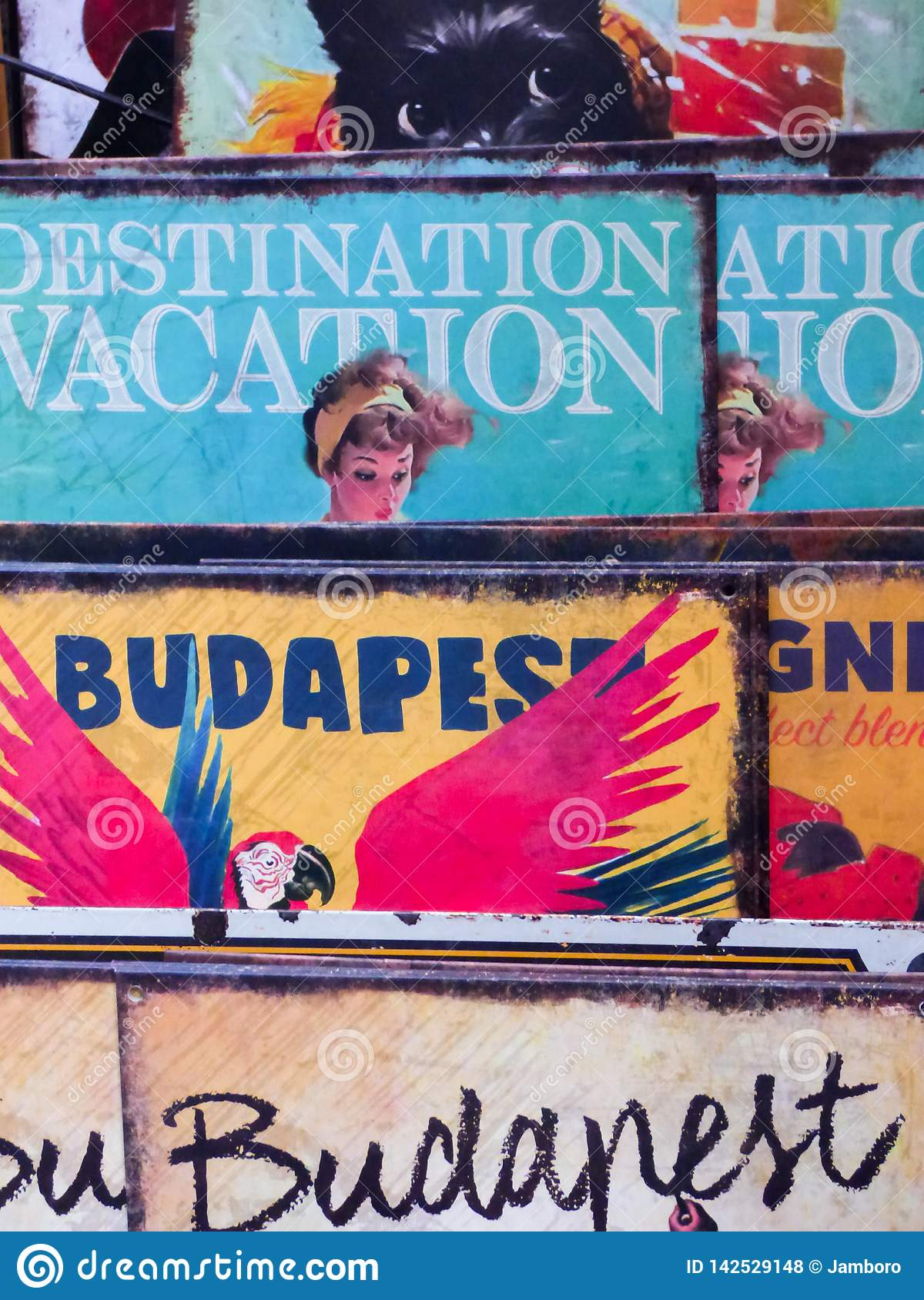 Budapest, Hungary 19`/3/15 Posters of Budapest organised next to each other in a tiny gift shop for turists, mainly visited by for