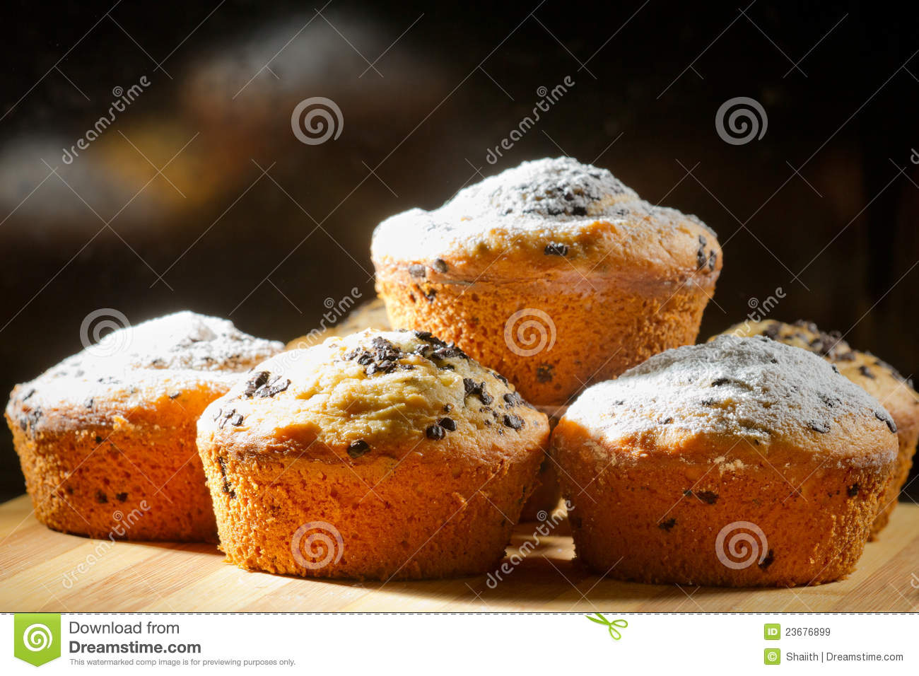 Some Creamy Muffins With Caster Sugar Stock Image Image