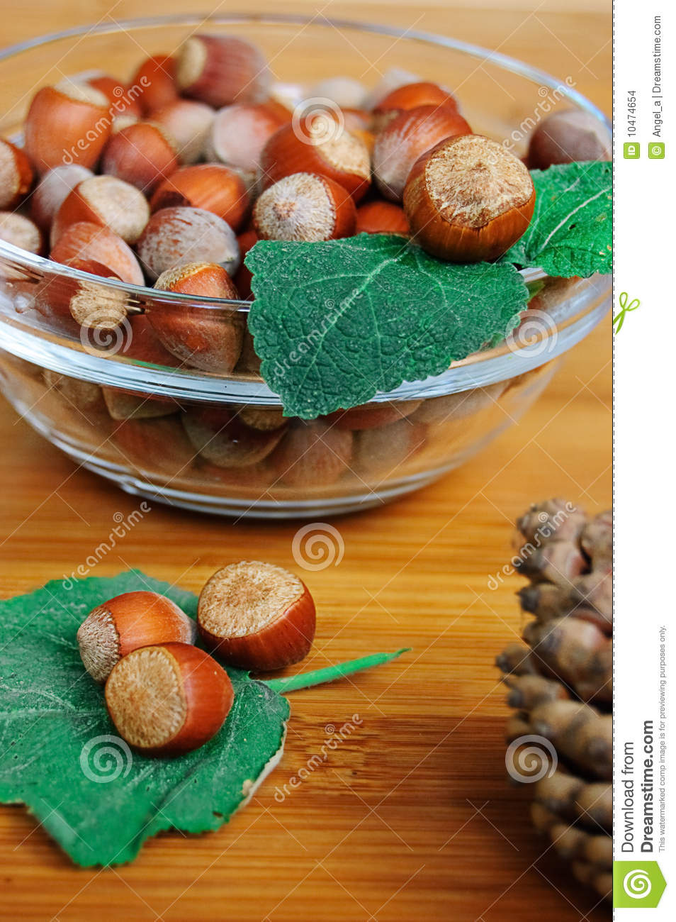Some Hazelnuts In The Plate Stock Photography