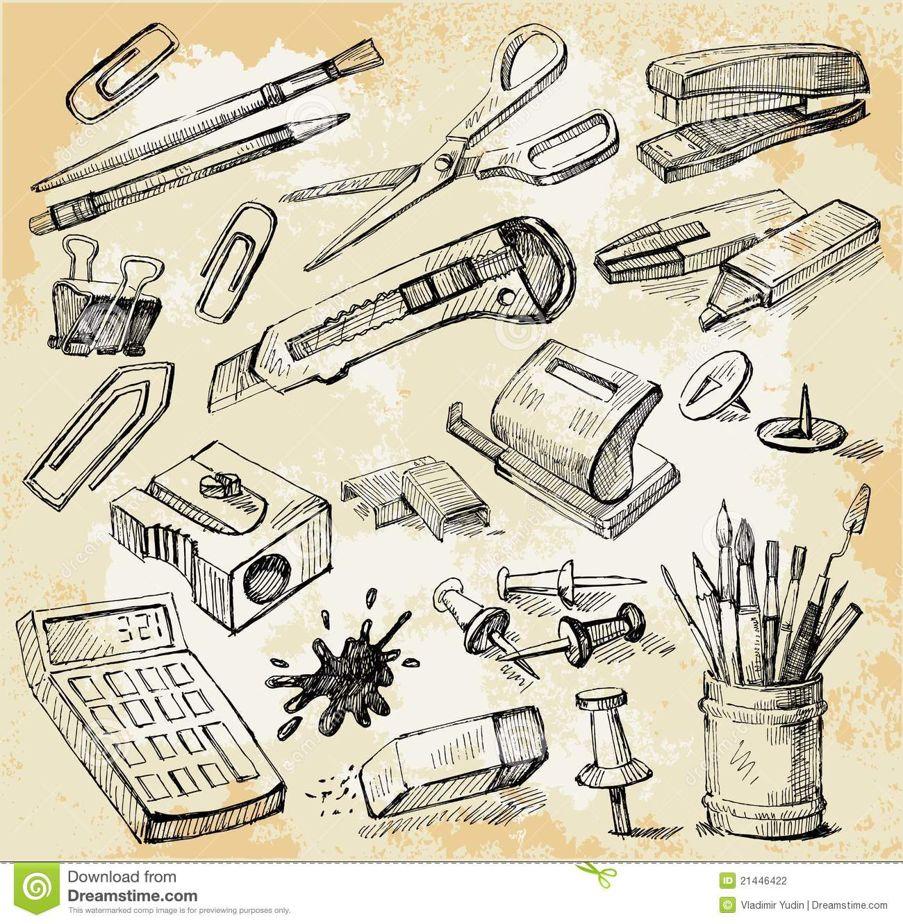 Some Office Stuff Hand Drawn Stock Photography - Image: 21446422