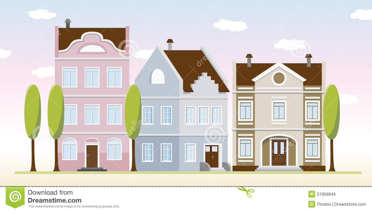 Some old houses stock vector image 51956846 for Colorful tree house