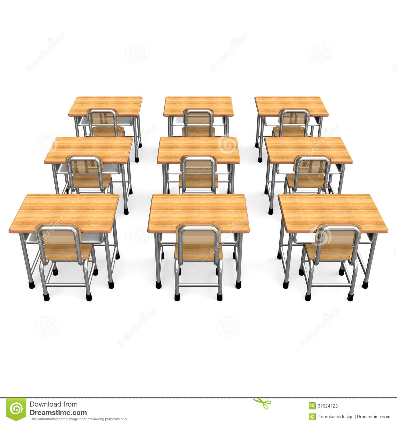 Some School Desk Back View Stock Illustration