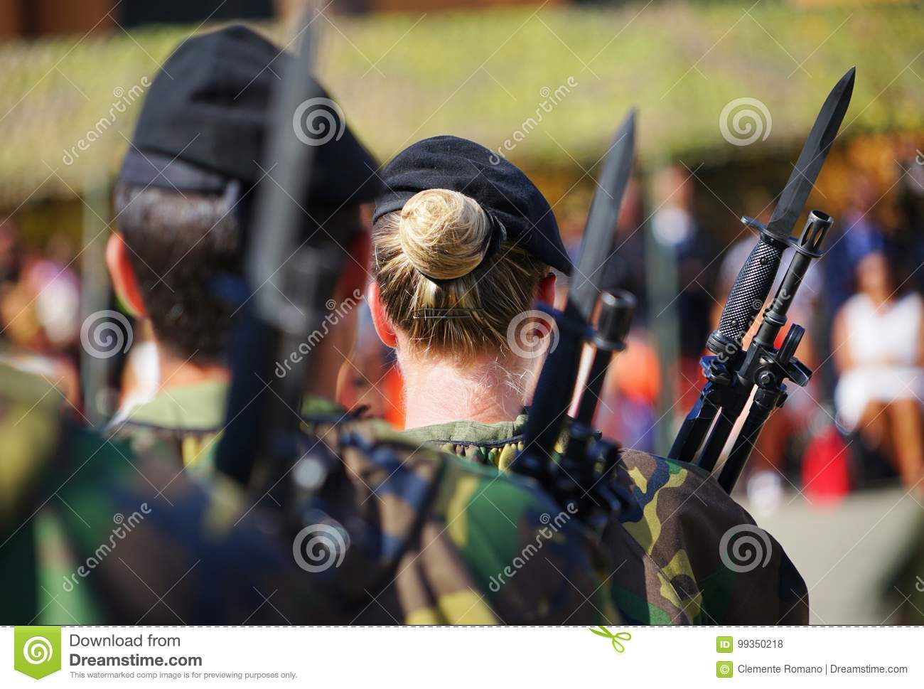 Women Soldiers Of The Italian Army Deployed In A Barracks
