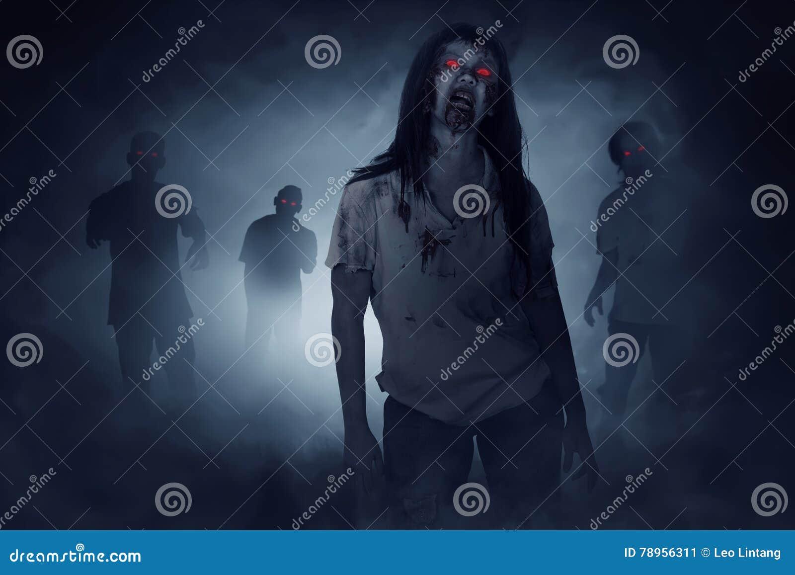 Some zombies walking around