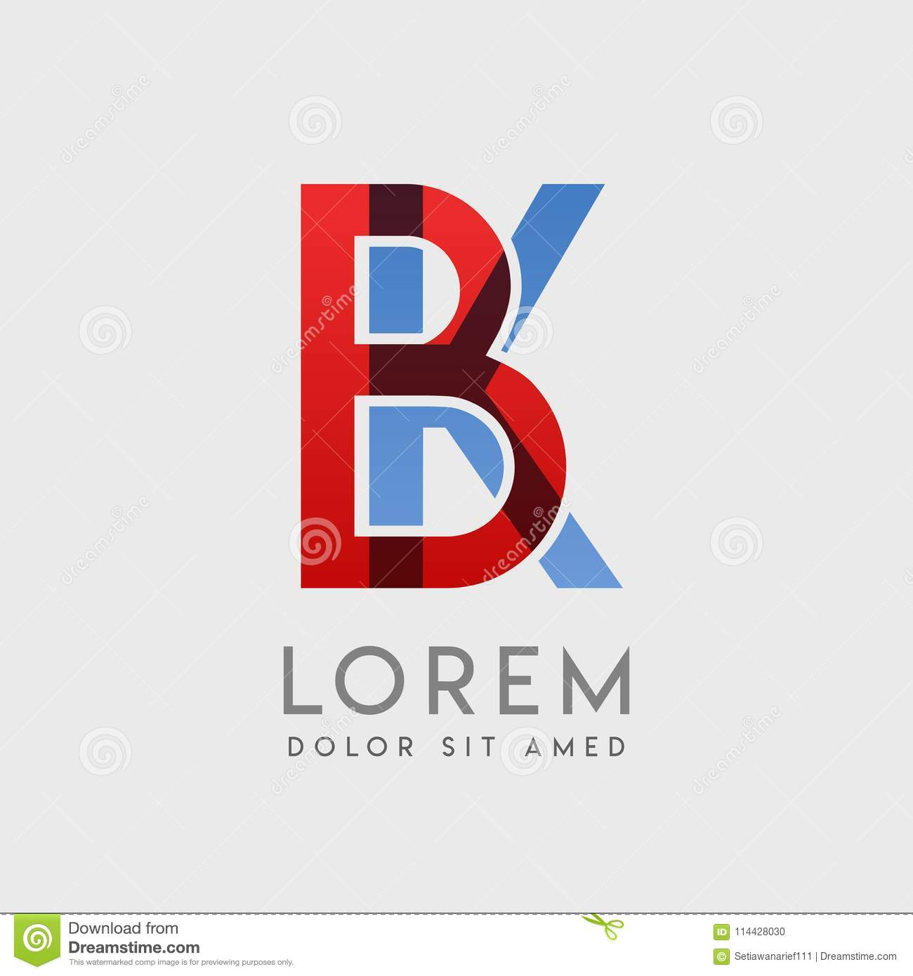 Bk Logo Letters With Blue And Red Gradation Stock Vector