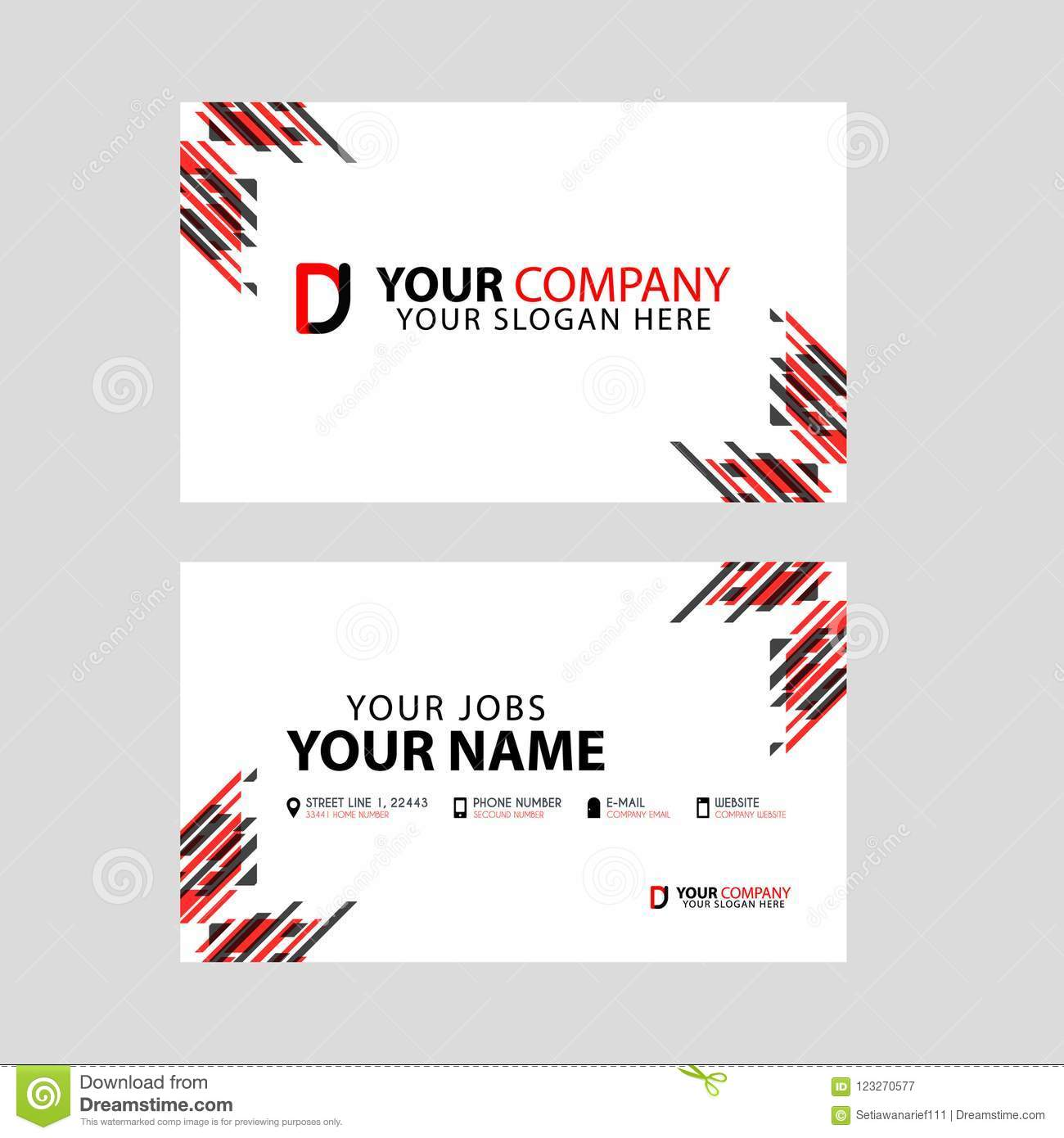 Business card template in black and red with a flat and horizontal download business card template in black and red with a flat and horizontal design plus reheart Image collections