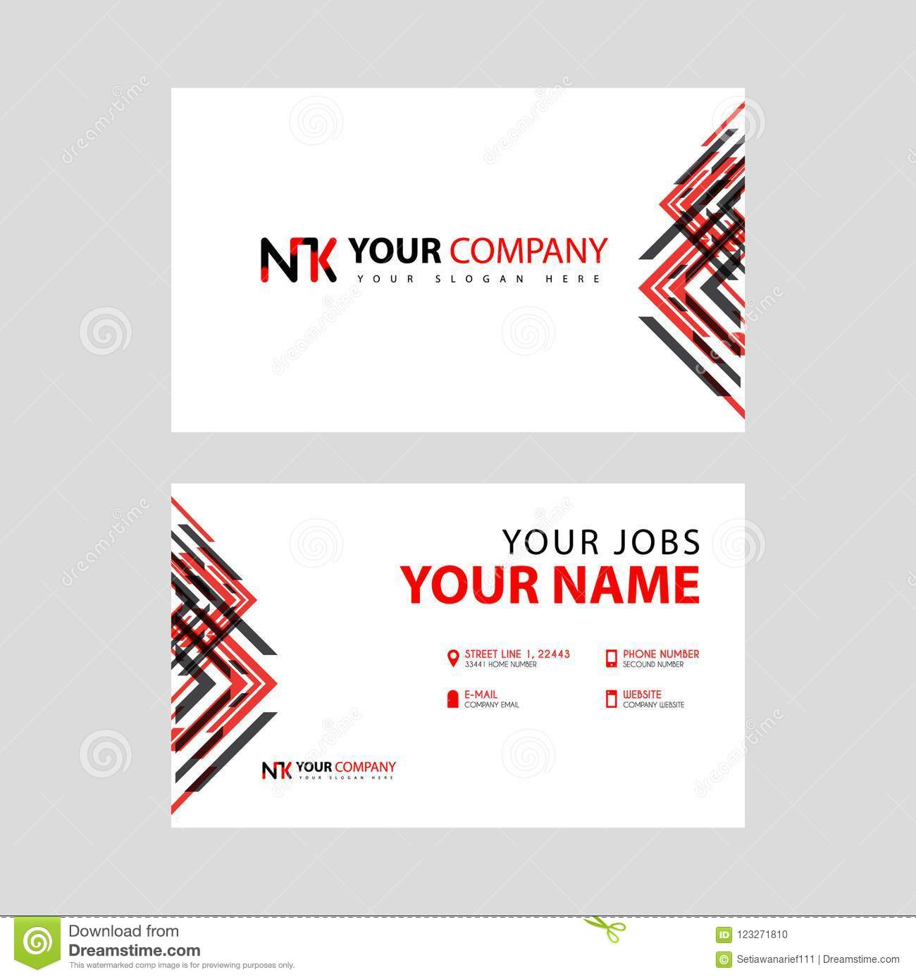 Business Card Template In Black And Red With A Flat And Horizontal
