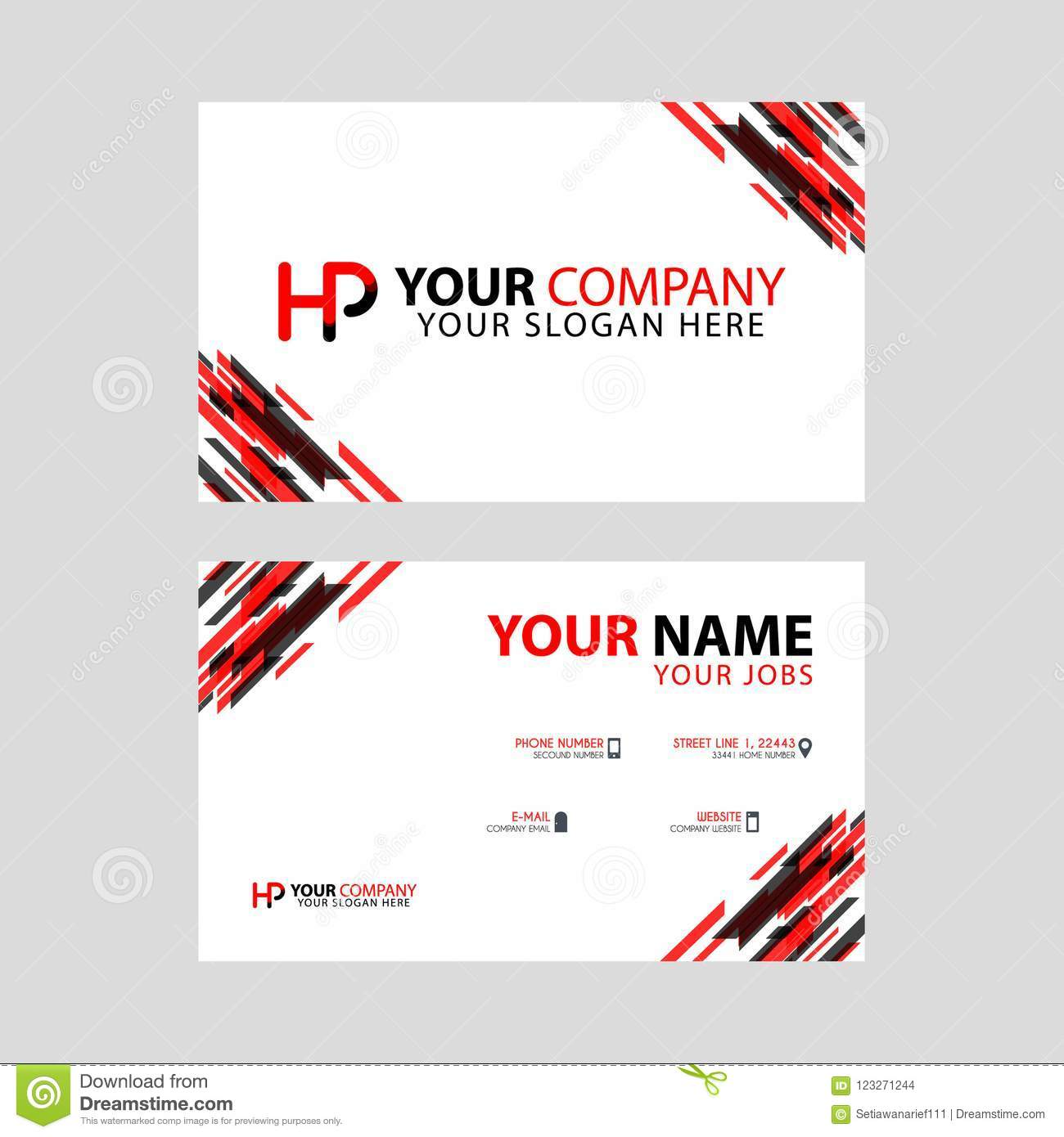 Logo Hp Design With A Black And Red Business Card With Horizontal