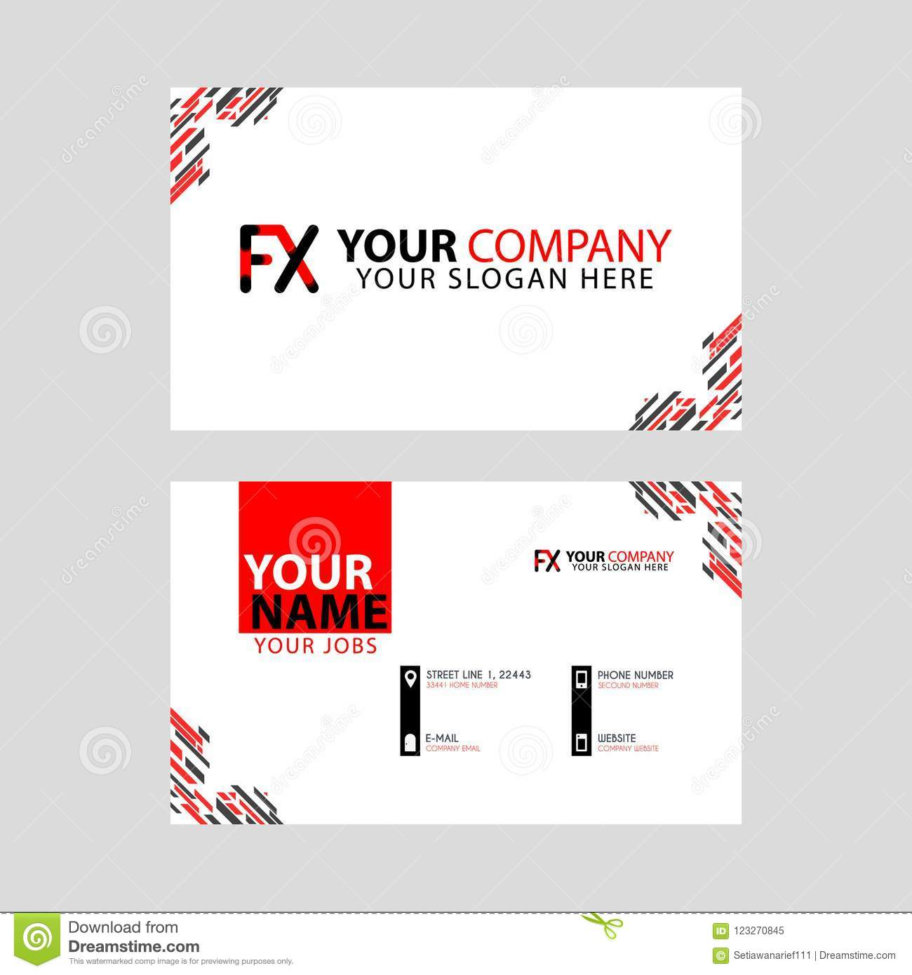 Modern Business Card Templates With FX Logo Letter And Horizontal - Logo layout templates