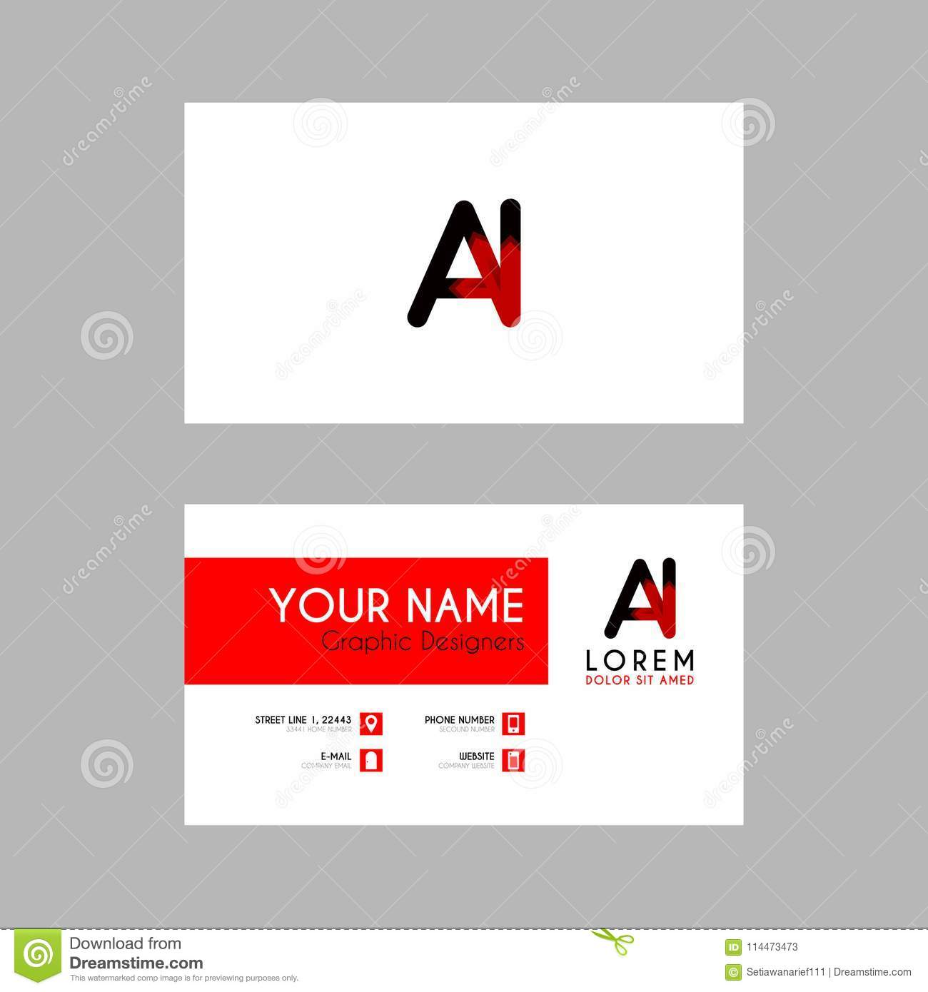 modern creative business card template with ai ribbon letter logo