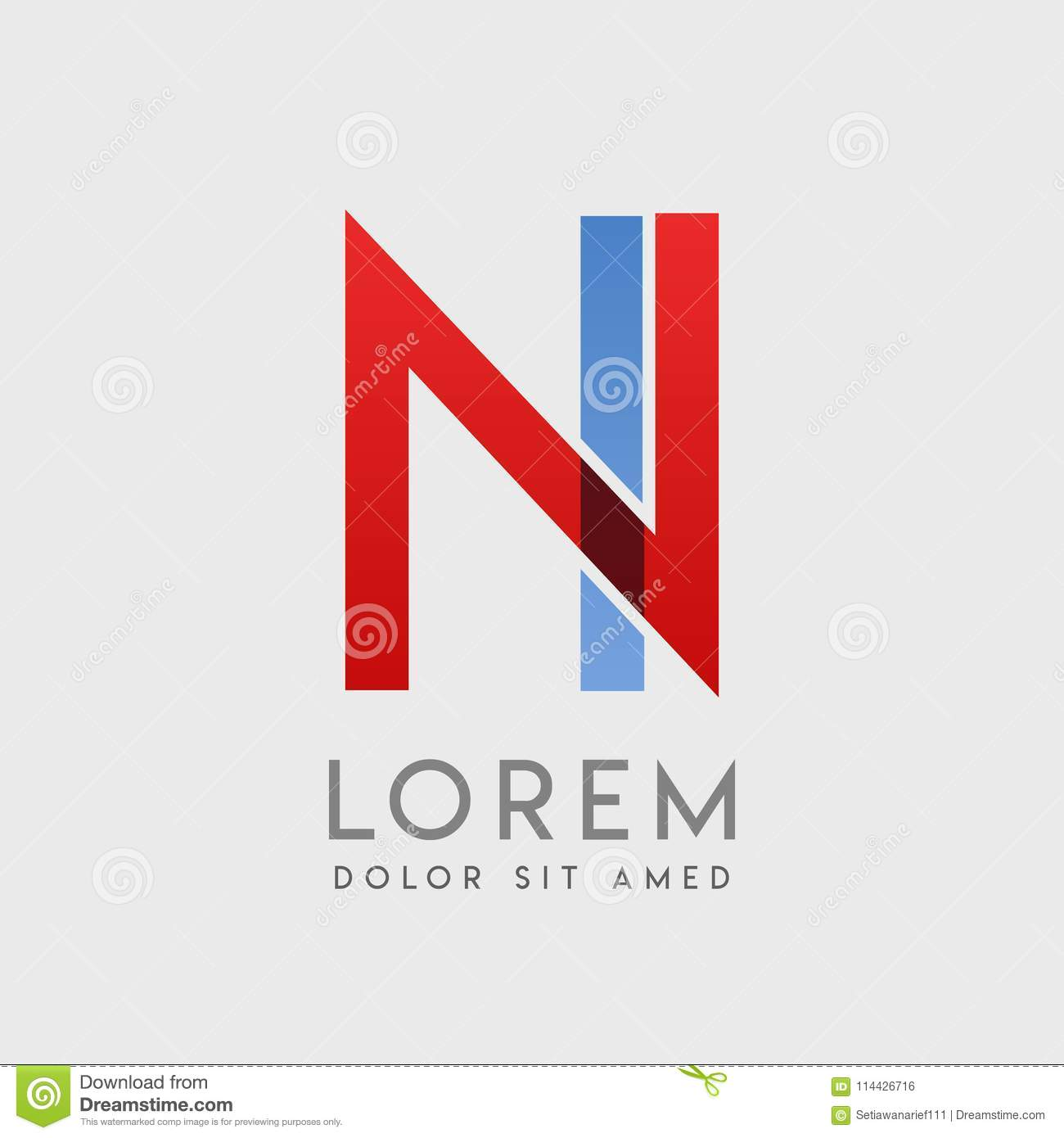 NI logo letters with blue and red gradation