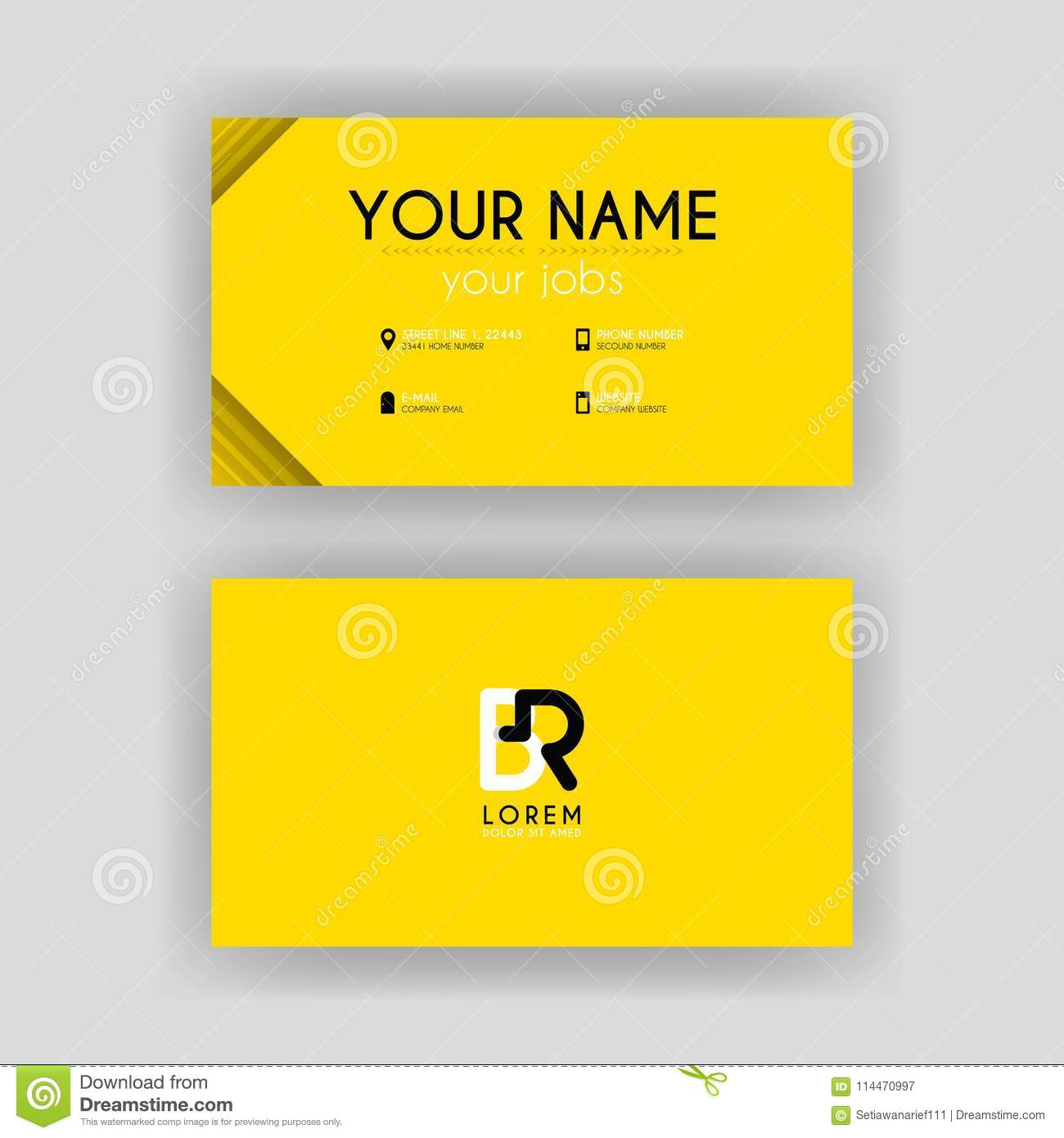 Simple Business Card With Initial Letter Br Rounded Edges Stock