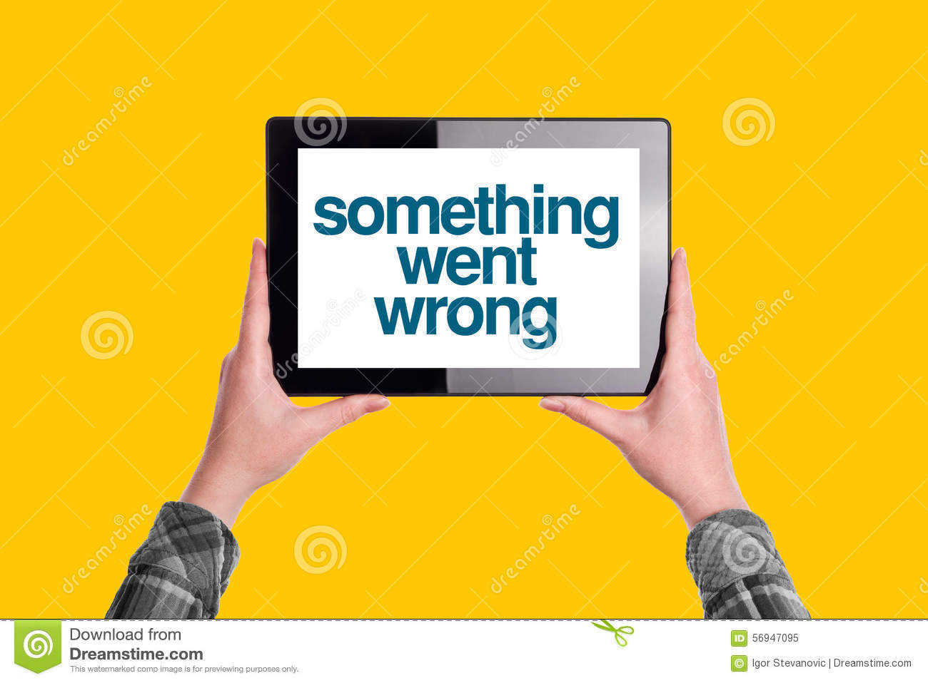 Something Went Wrong Message On Digital Tablet Computer ...