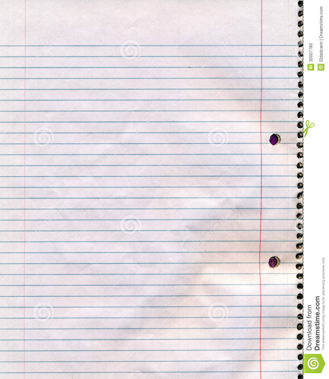 Spiral Notebook Page Stock Photo Image Of Message Dirty