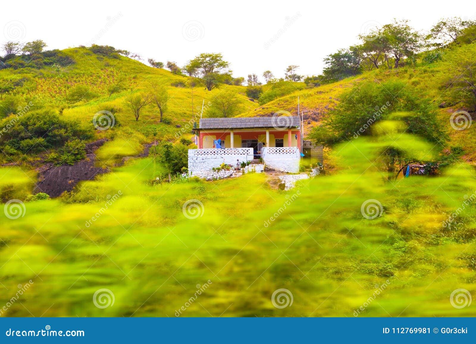 Cape Verde, Small House, Volcanic and Fertile Landscape, Mountains Scenery, Santiago Island