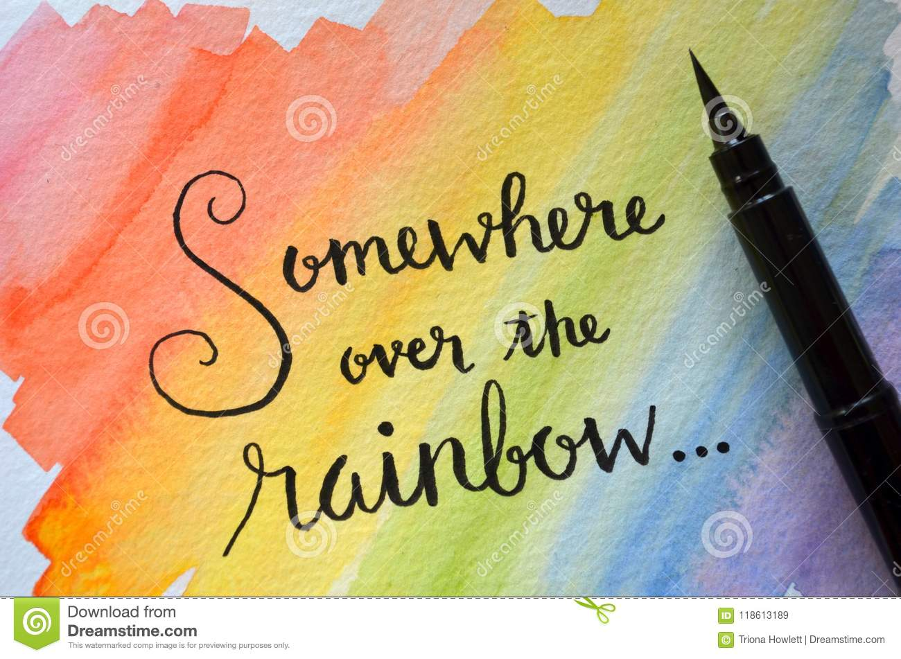 Somewhere Over The Rainbow Hand Lettered In Notebook Stock